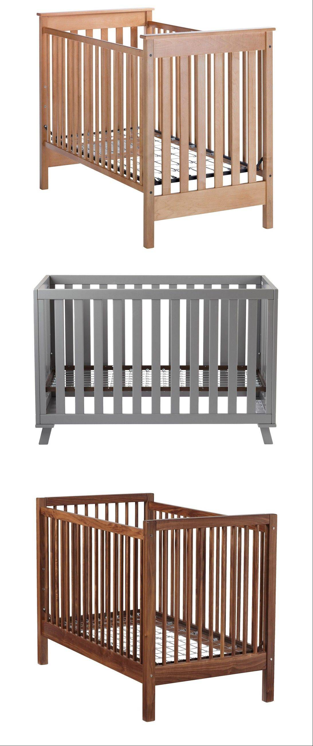 Safety first when choosing a crib. Advice. From top, Straight-Up Crib, Low-Rise Crib and Andersen Walnut Crib, bottom.