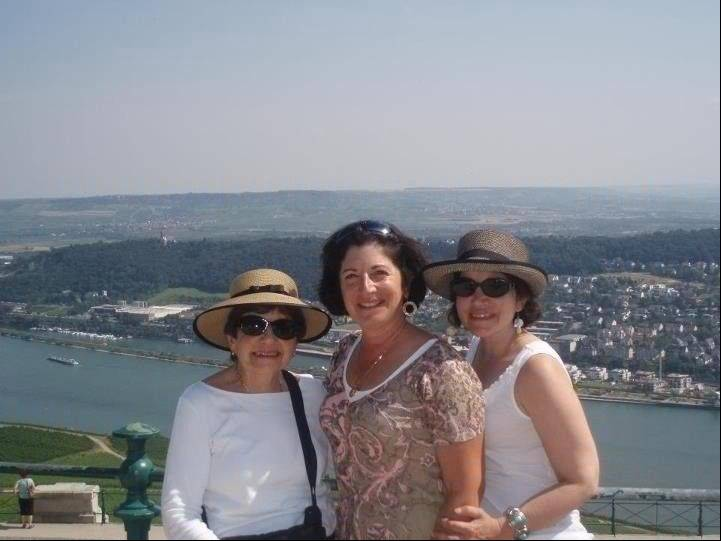 Anne D'Innocenzio, right, with her sister Donna and mother Marie in Rudesheim, Germany, on a port call they made while taking a Rhine River cruise together.