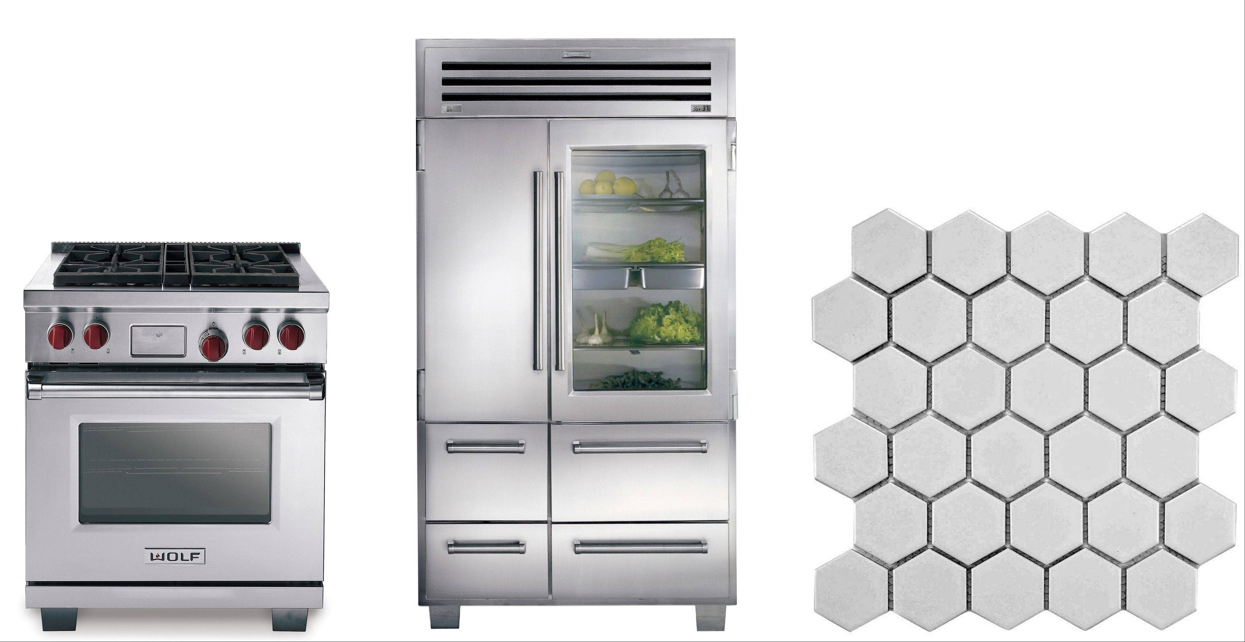 The dual-fuel line from Wolf, left, pairs a gas cooktop and electric oven; a glass door refrigerator looks sleek, and freezer compartments are efficient, center; hexagonal tiles give a classic look to the flooring.