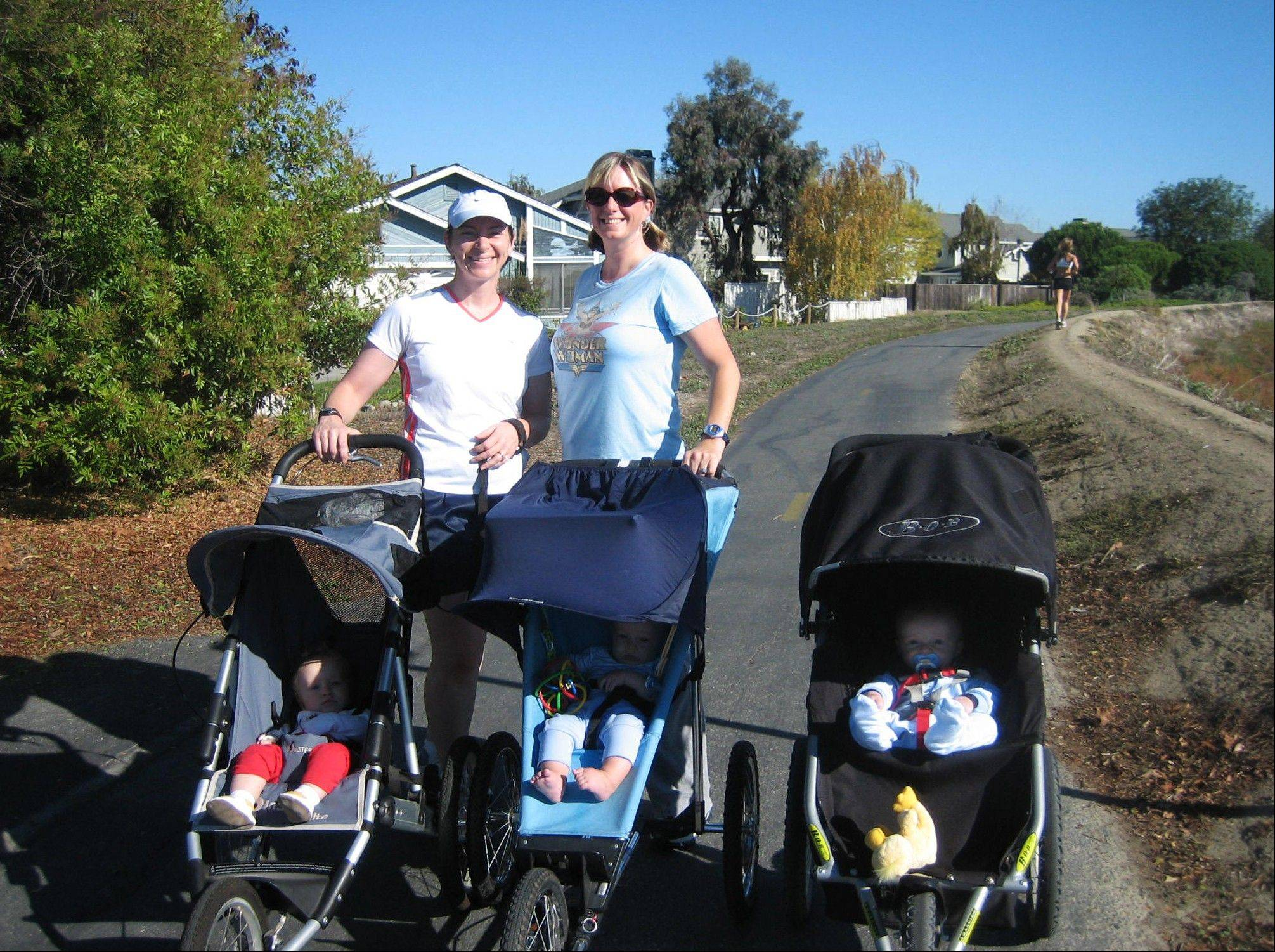 Mothers with their babies along the Bay Trail through Foster City, Calif. The nonprofit organization, Stroller Hikes, arranges numerous hikes each week for parents.