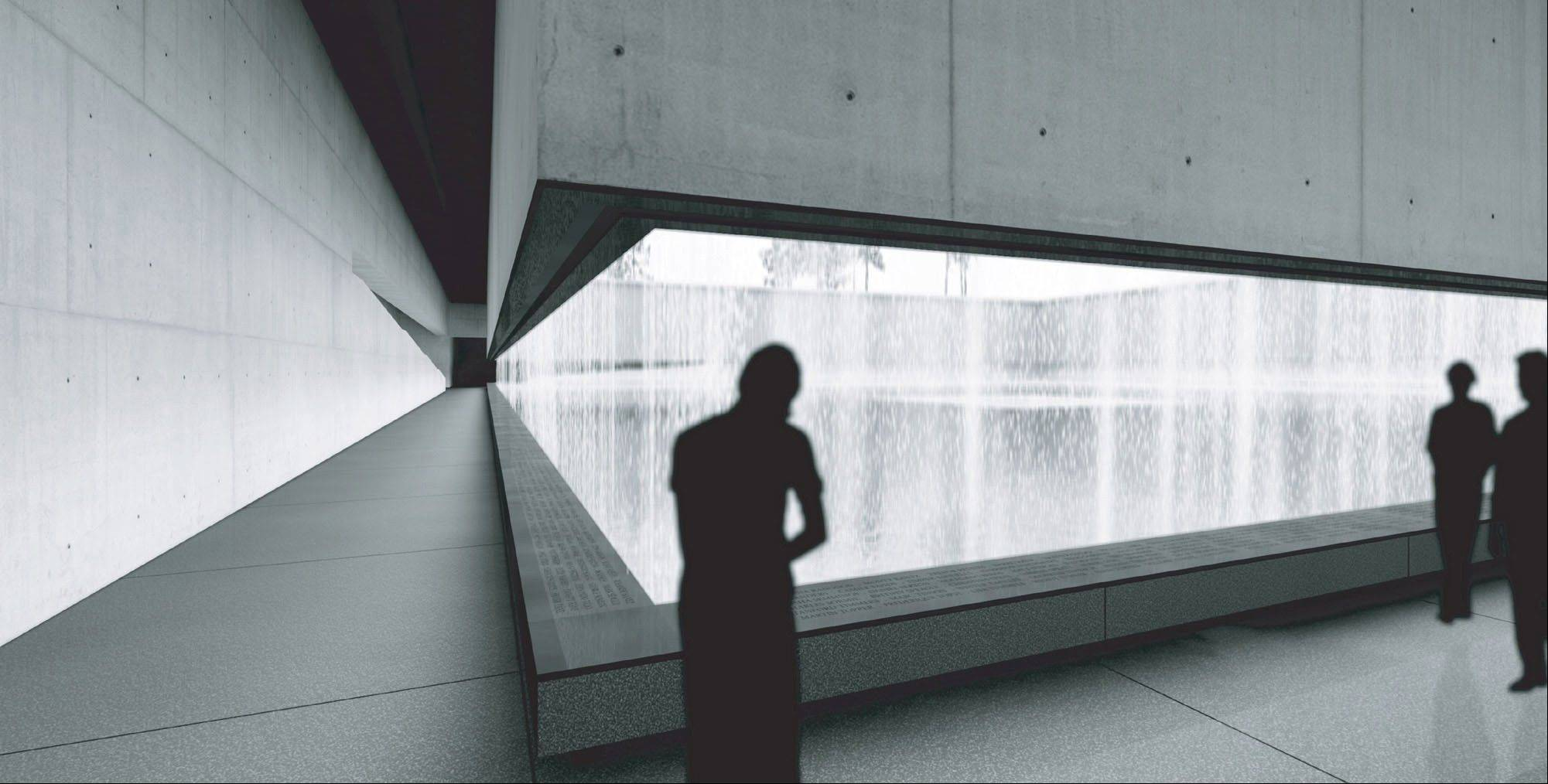 An artist's rendering of the reflecting pool from inside the National September 11 Museum and Memorial is shown. The foundation building the underground 9/11 museum at the World Trade Center has decided to charge a mandatory admission fee of $20 to $25 when the site opens in 2014.