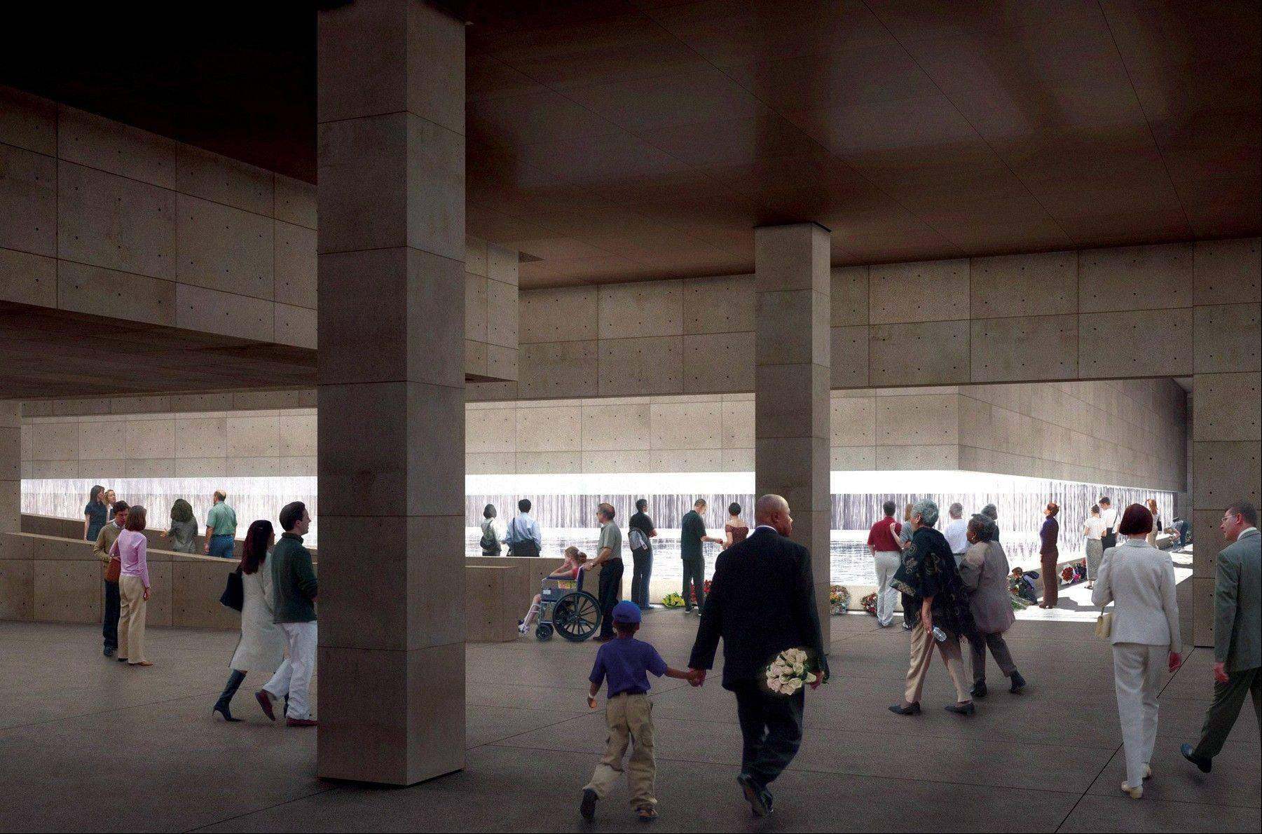 An artist's rendering of the Memorial Hall looking at the South Footprint of the World Trade Center is shown.