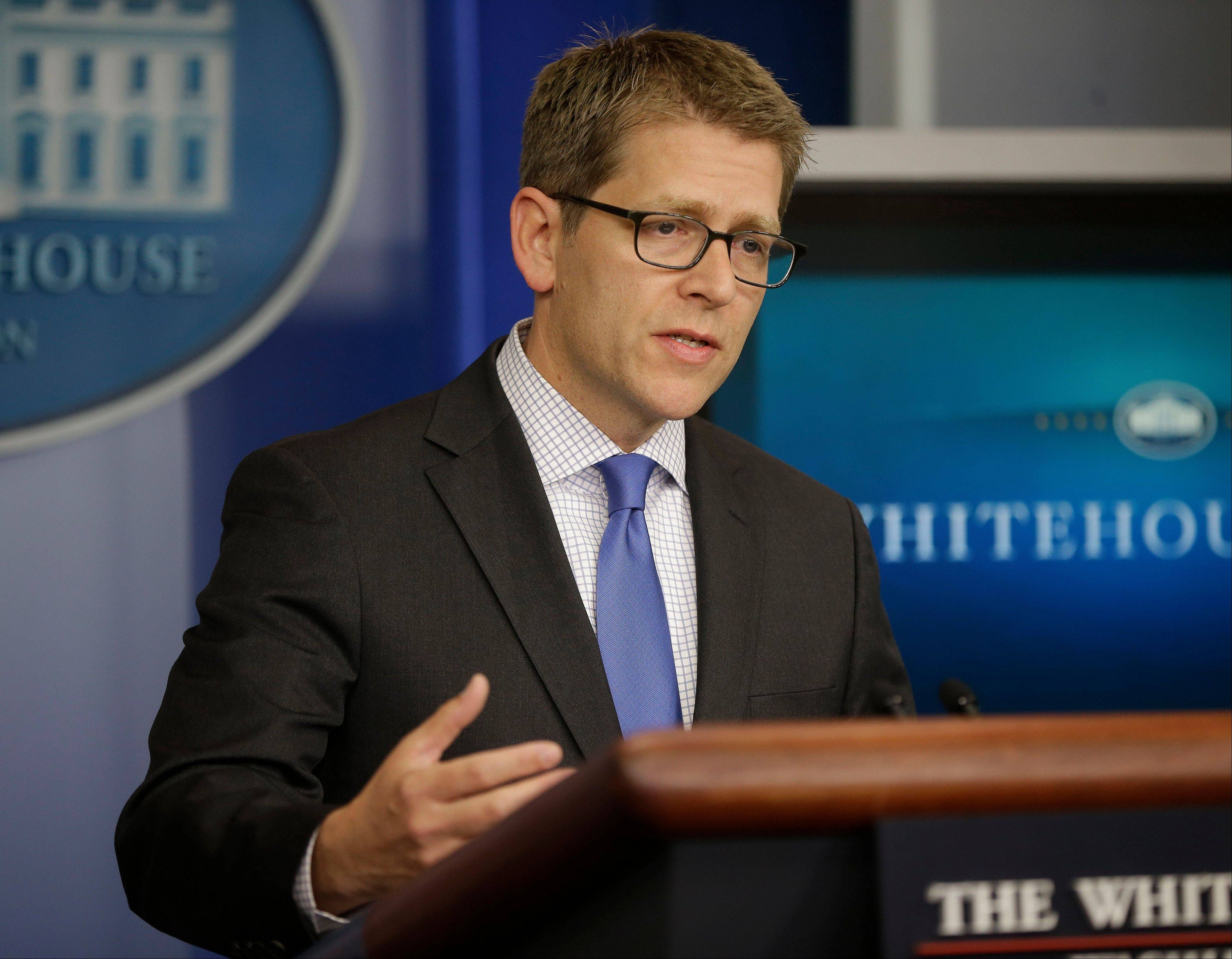 White House Press Secretary Jay Carney during his daily news briefing Friday at the White House in Washington.