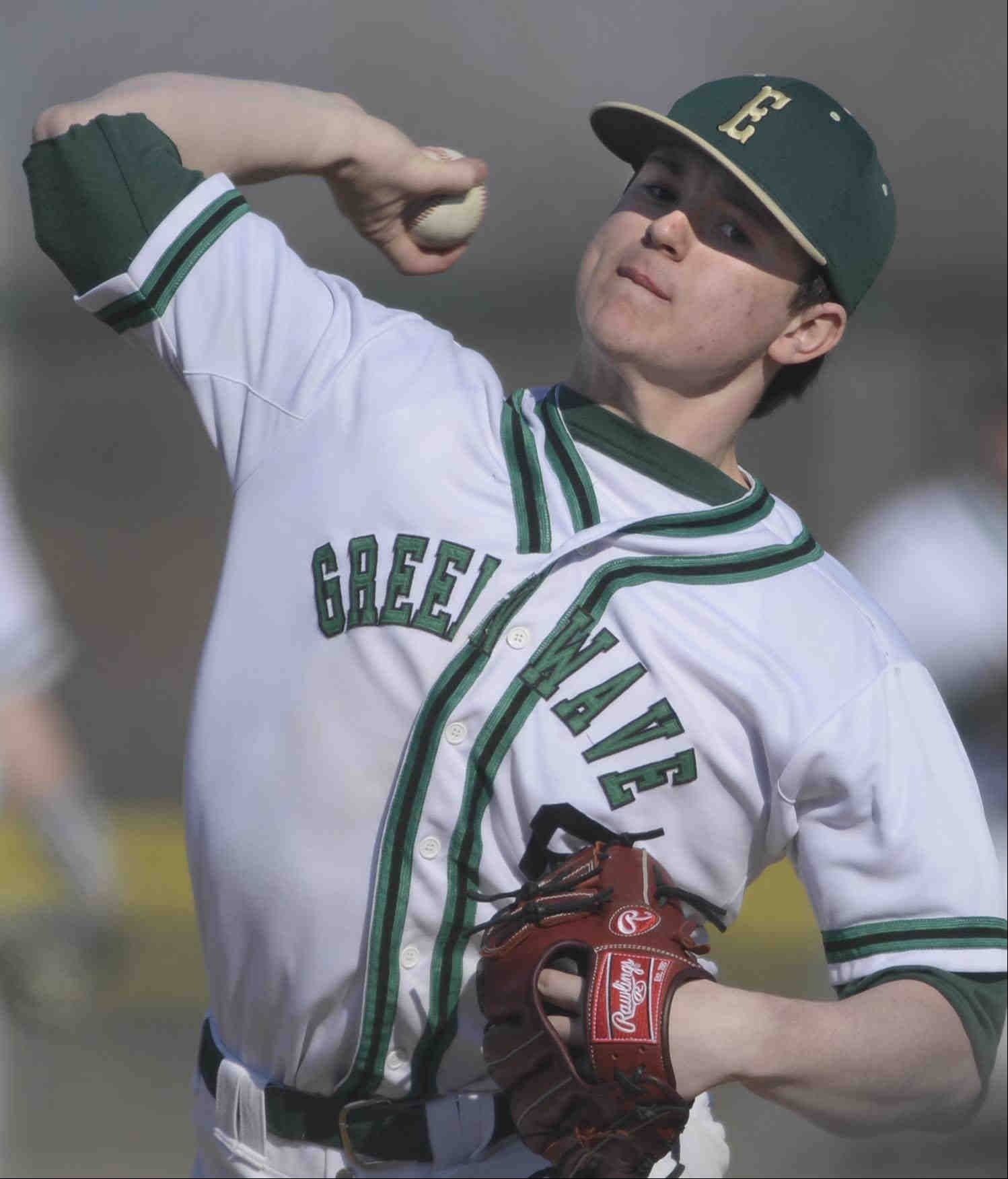 St. Edward starting pitcher Jack Tierney throws against Aurora Christian earlier this season. The Green Wave will face AC in regional semifinal play on Thursday.