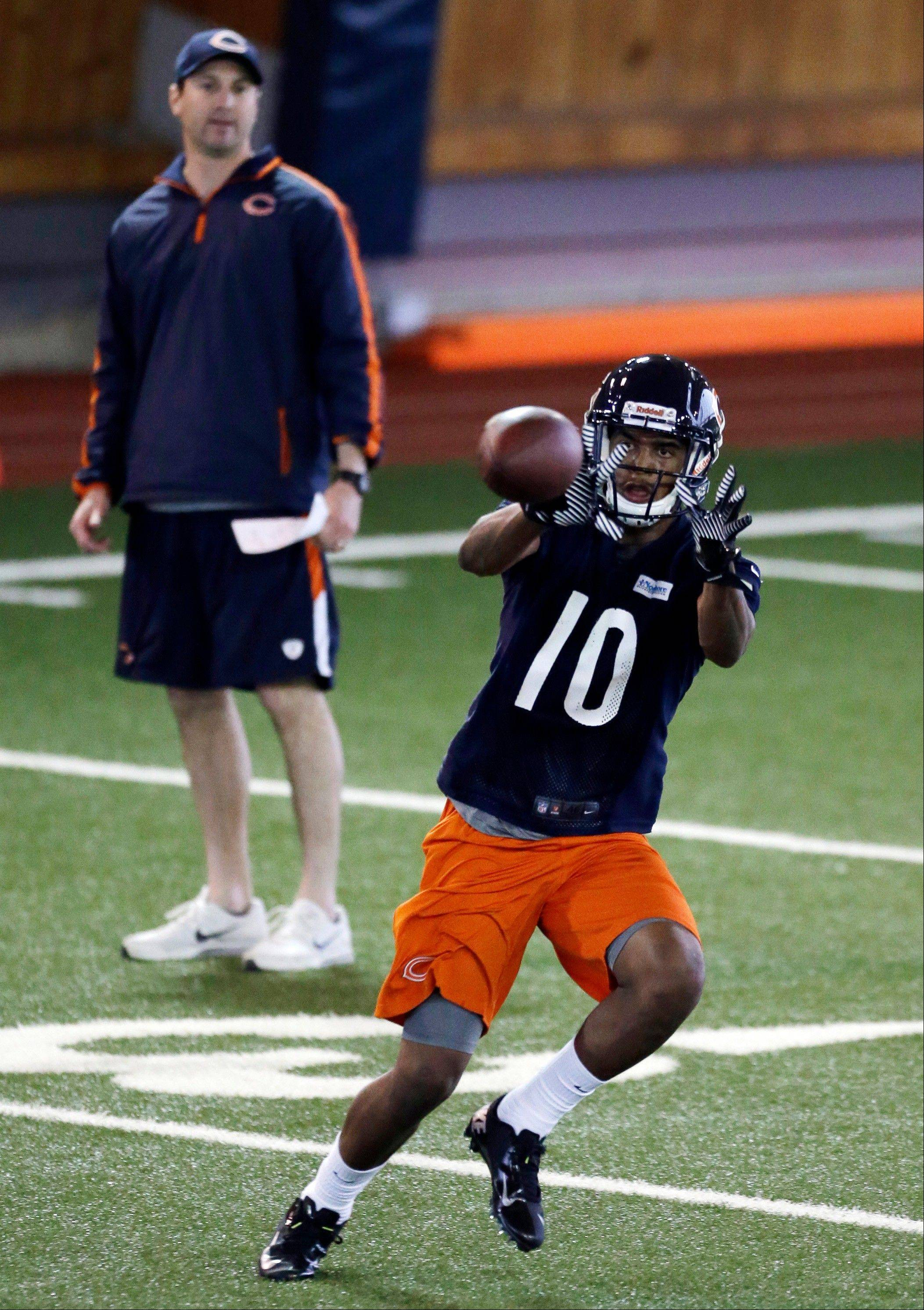 Bears receiver Marquess Wilson catches a pass during rookie minicamp at Halas Hall.