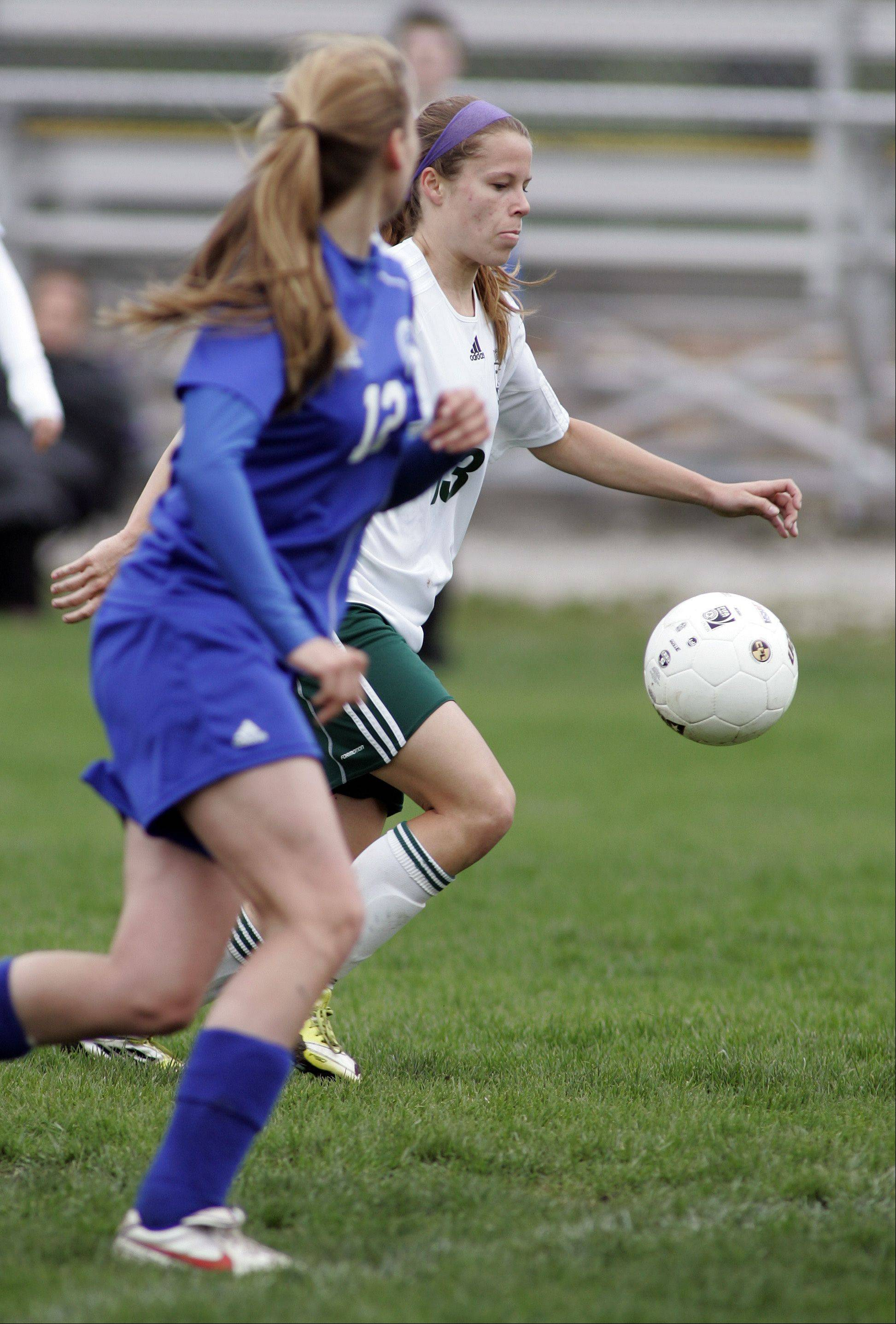 St. Edward's Meagan Kearney is on her way to scoring a goal Saturday.