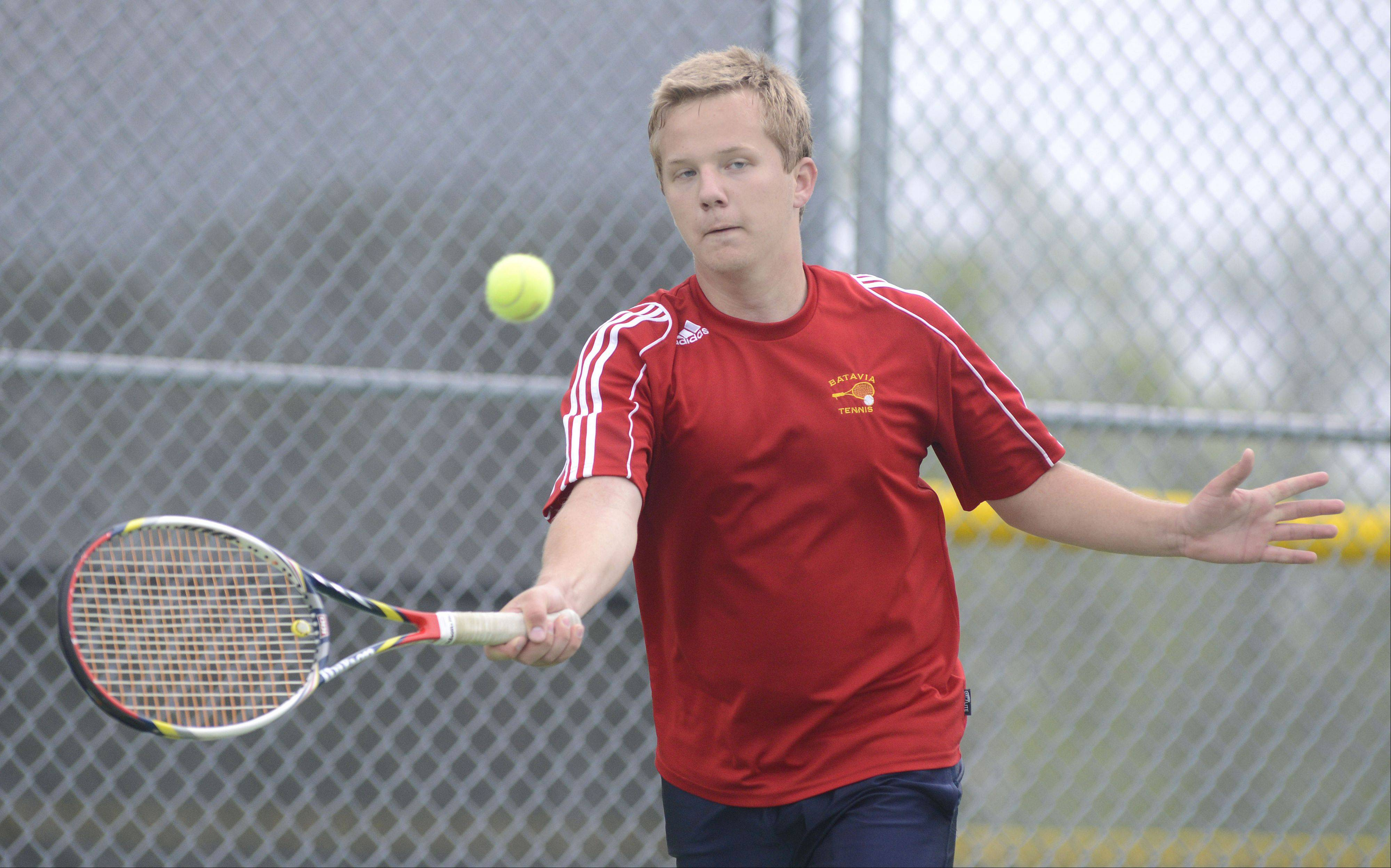 Batavia's Ryan Sterling in the first place, first singles match vs. St. Charles North's Dom Amalraj in the Upstate Eight Conference at Elgin High School on Saturday, May 11.