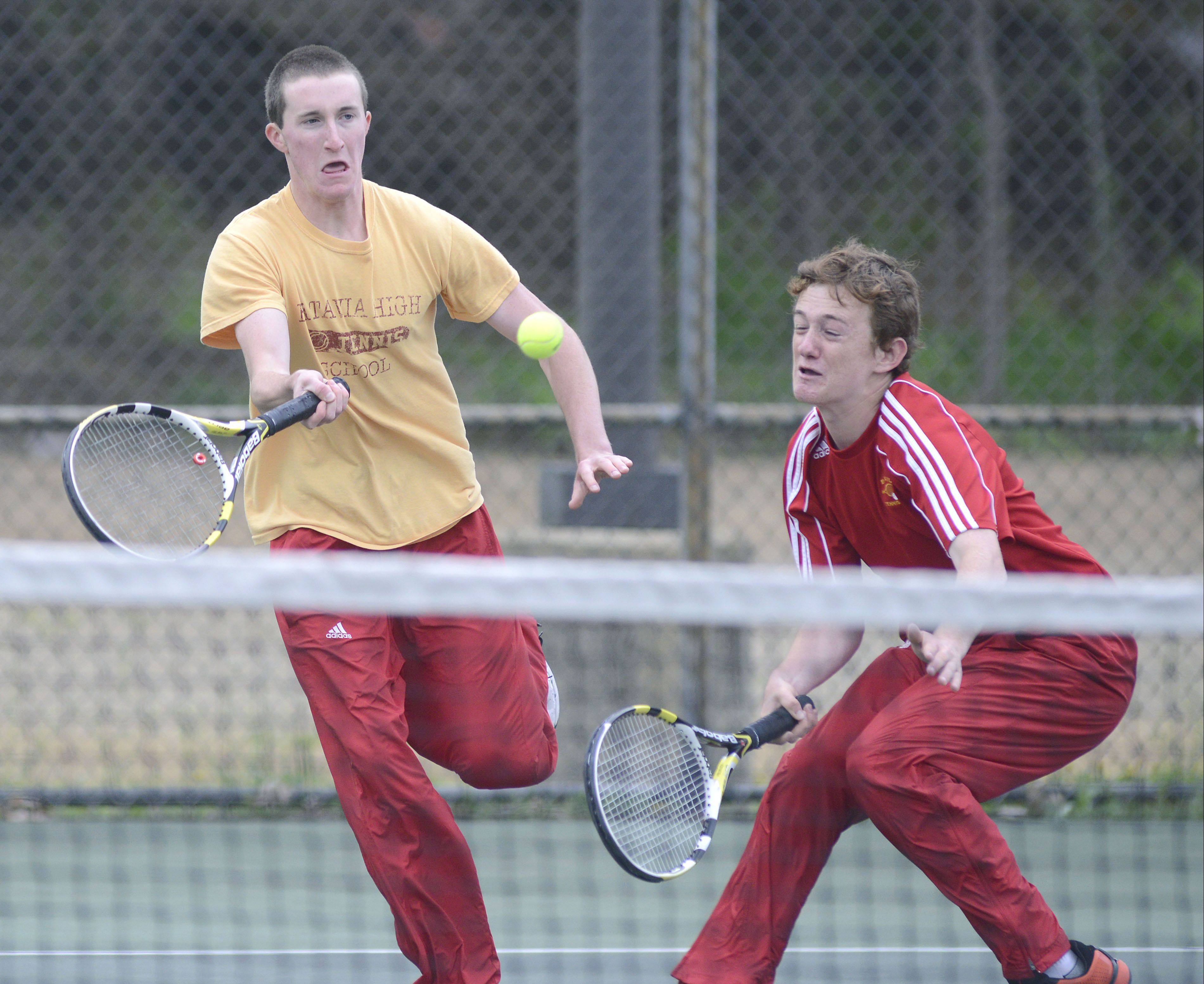 Batavia's first doubles team Jeff Lorden and Adam Maris placed second at the Upstate Eight River tournament Saturday.