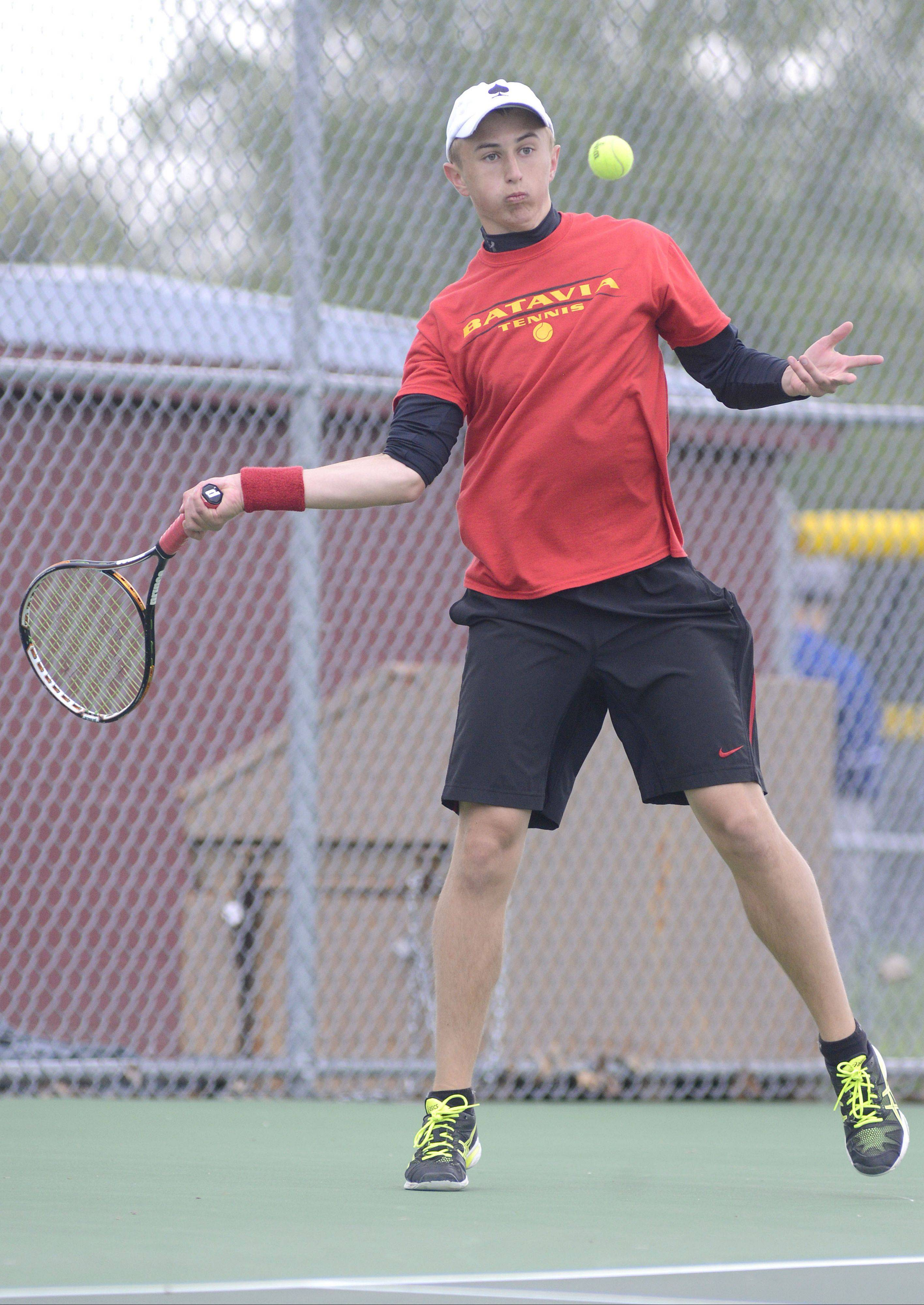Batavia's Tim Murat won the second singles championship for the team champion Bulldogs on Saturday at the Upstate Eight Conference Tournament in Elgin.