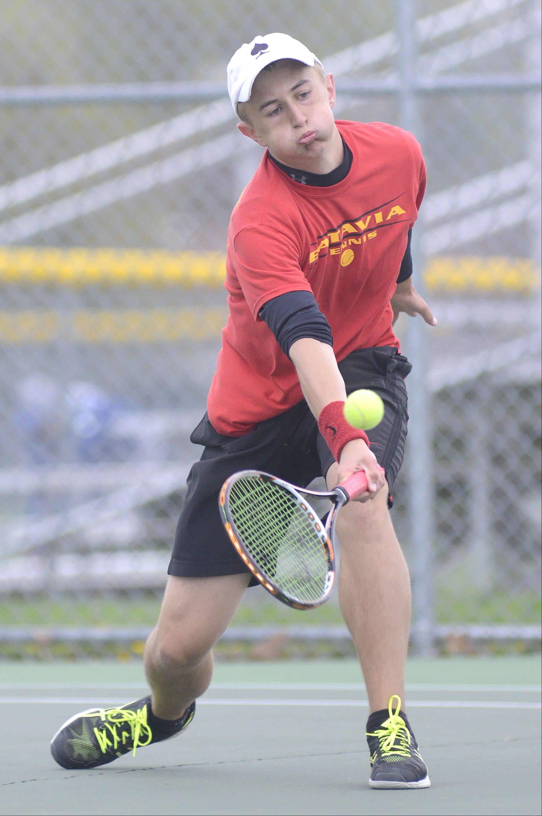 Batavia's Tim Murat in the second single finals at the Upstate Eight Conference at Elgin High School on Saturday, May 11.
