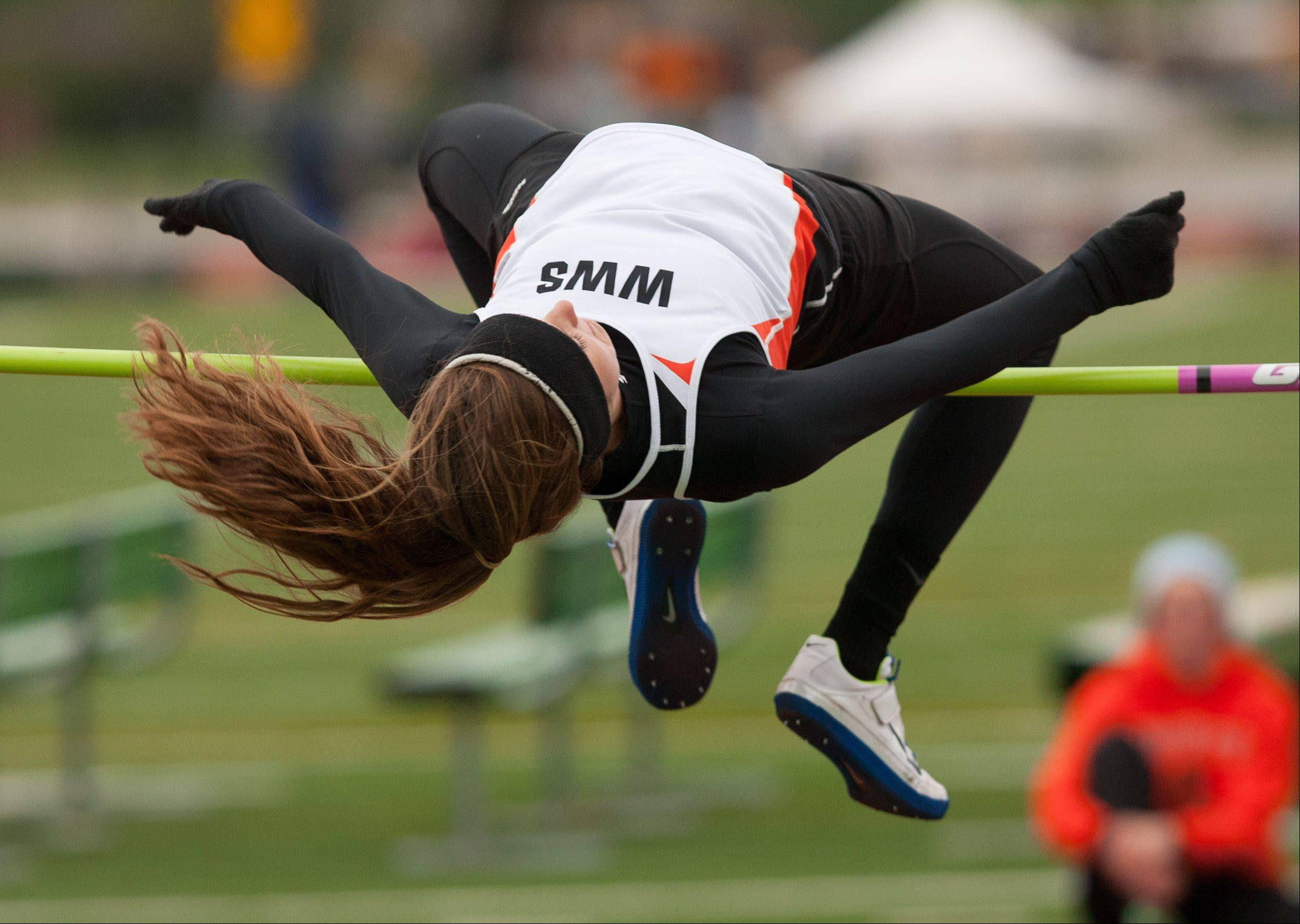 Wheaton Warrenville South's Erin Zappia finishes second in the high jump during the York Girls Track and Field Sectional meet.