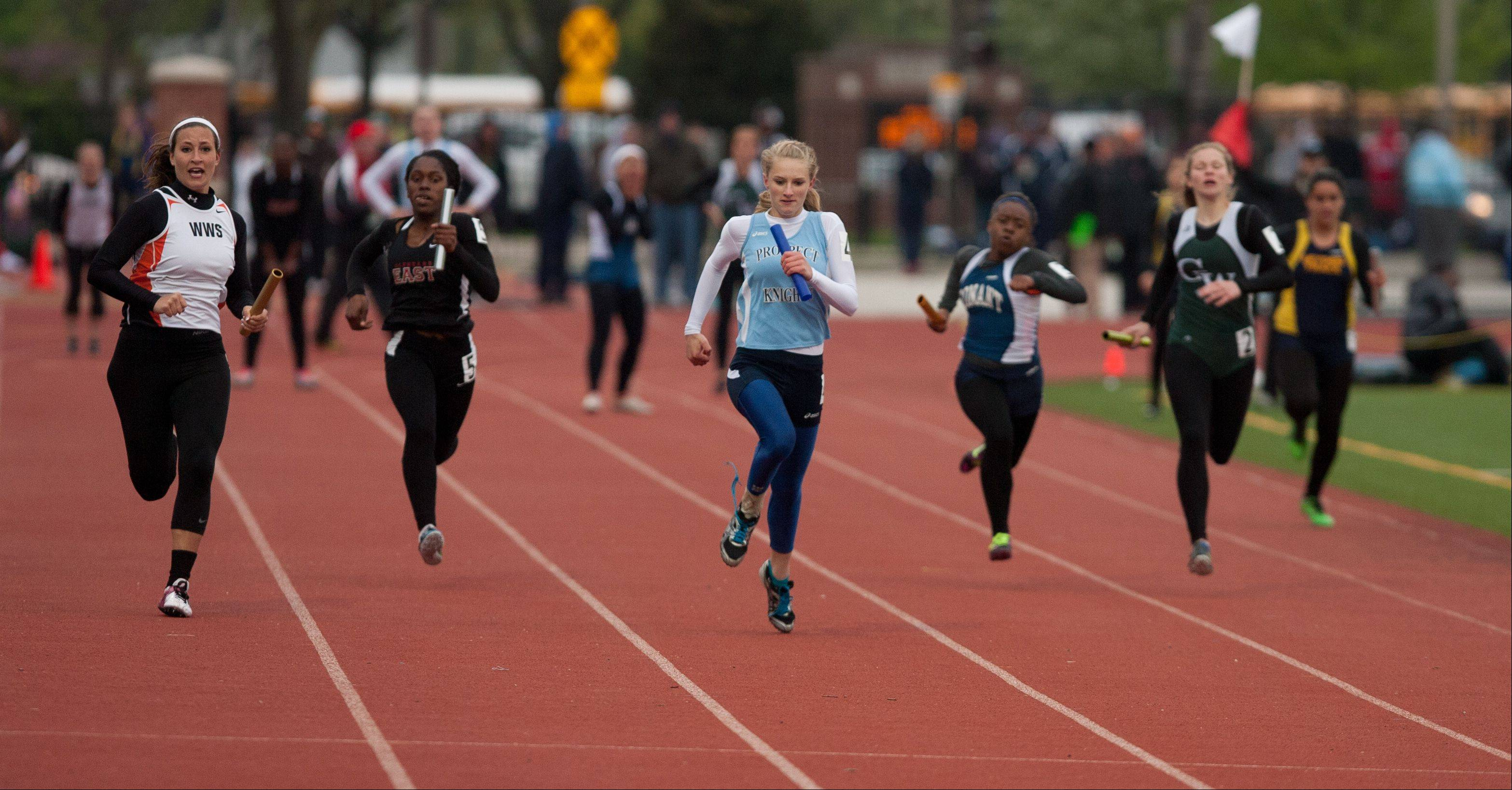 Prospect's Jessica Skudlarek anchors a 4 x 100 Meter Relay win during the York Girls Track and Field Sectional meet.