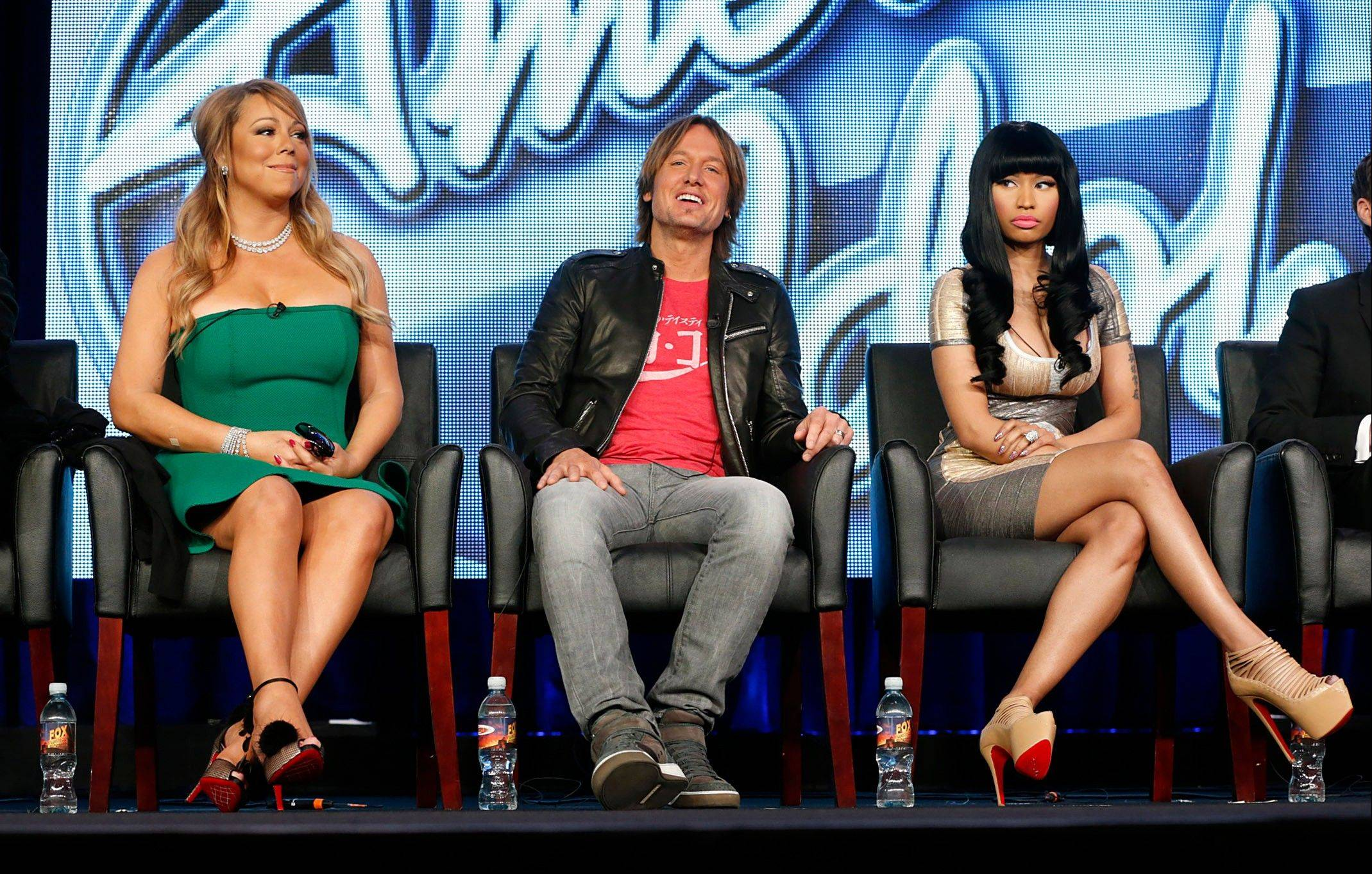 In this Jan. 8, 2013 photo, from left, Mariah Carey, Keith Urban and Nicki Minaj from �American Idol� attend the Fox Winter TCA Tour at the Langham Huntington Hotel, in Pasadena, Calif. All is not well in the once peaceful land of �American Idol,� despite a shake-up at the beginning of this season that was supposed to rejuvenate the aging Fox talent competition. Instead, the behind-the-scenes-and-sometimes-in-front-of-the-scenes drama continues to cast a shadow over the series, right up to the Thursday, May 16, 2013, coronation of its 12th season champion.