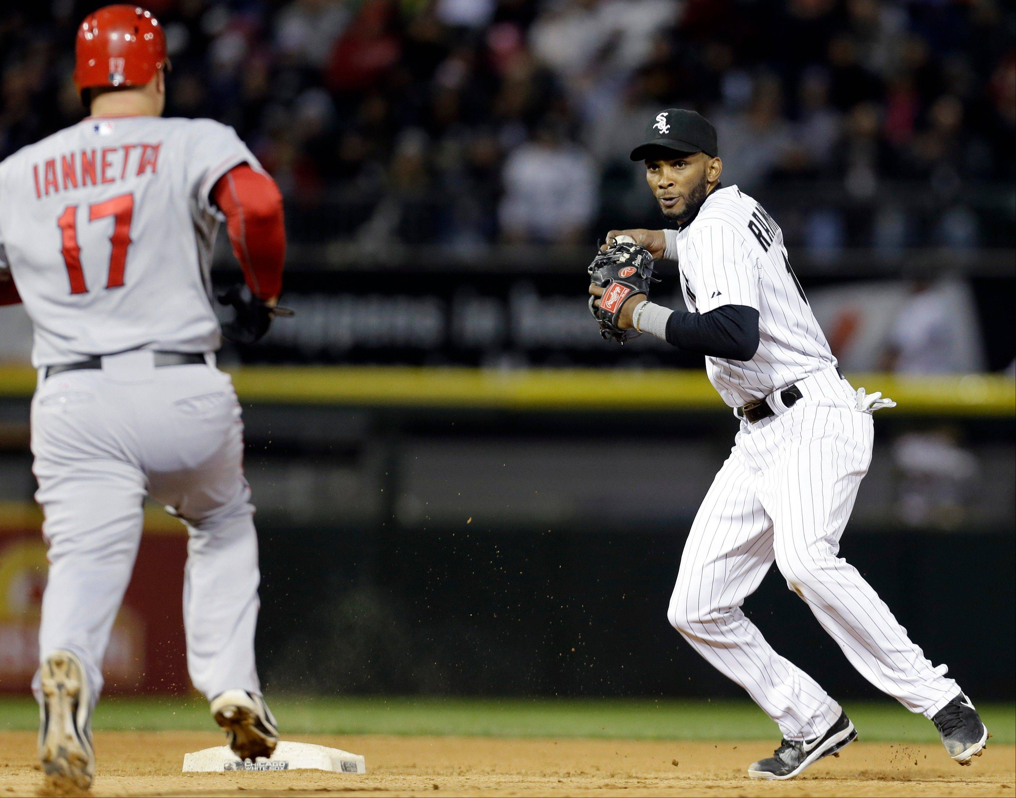 White Sox shortstop Alexei Ramirez looks to throw after forcing out the Angels� Chris Iannetta in Saturday night�s game. While defense has been an issue for the Sox this season, Chris Rongey says hitting has been the bigger problem.