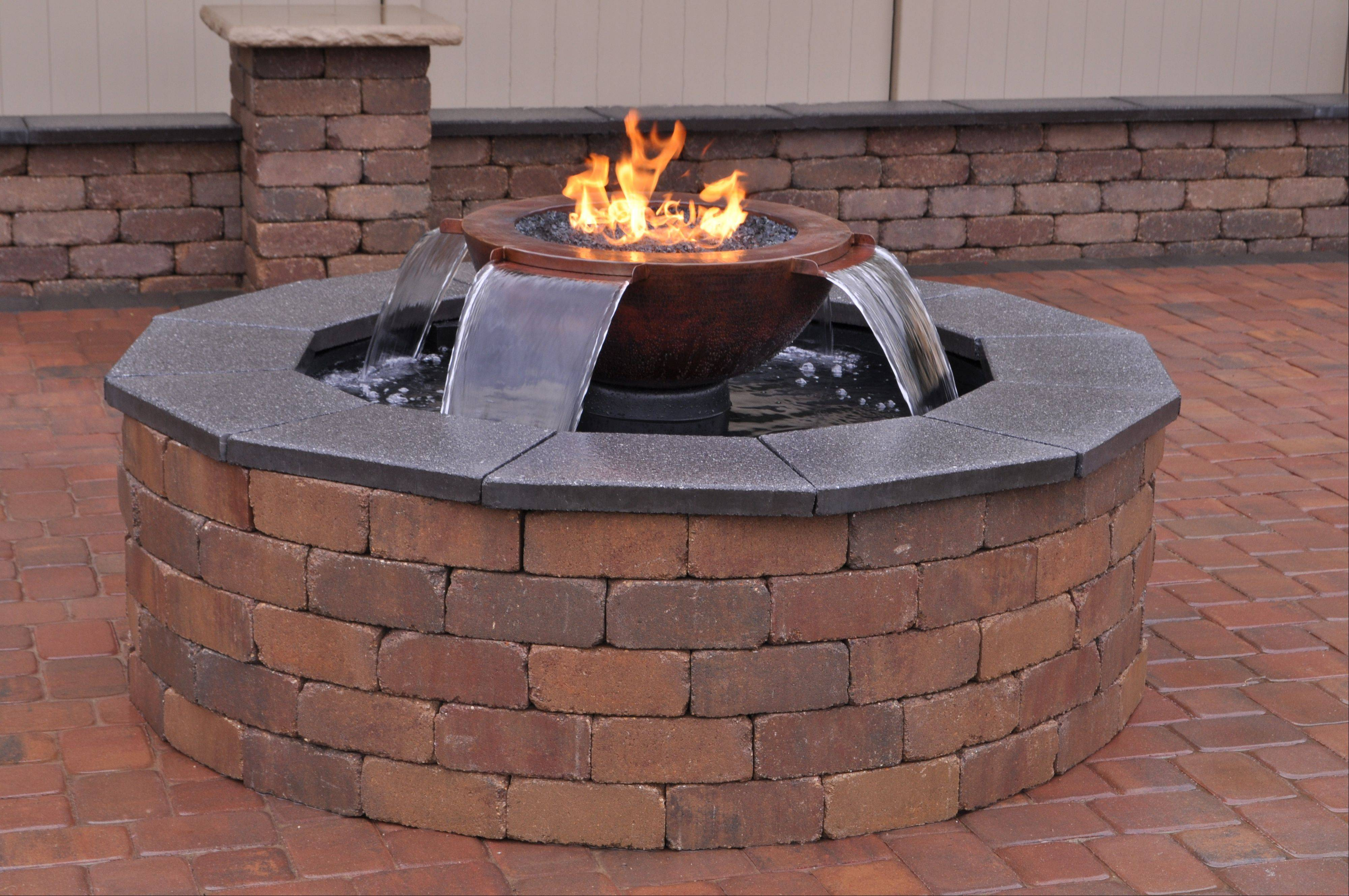 The Evolution 360 Series by HPC, sold by Hearth and Home of Mount Prospect, combines fire and water and comes as a fully assembled system that can be installed on virtually any patio.