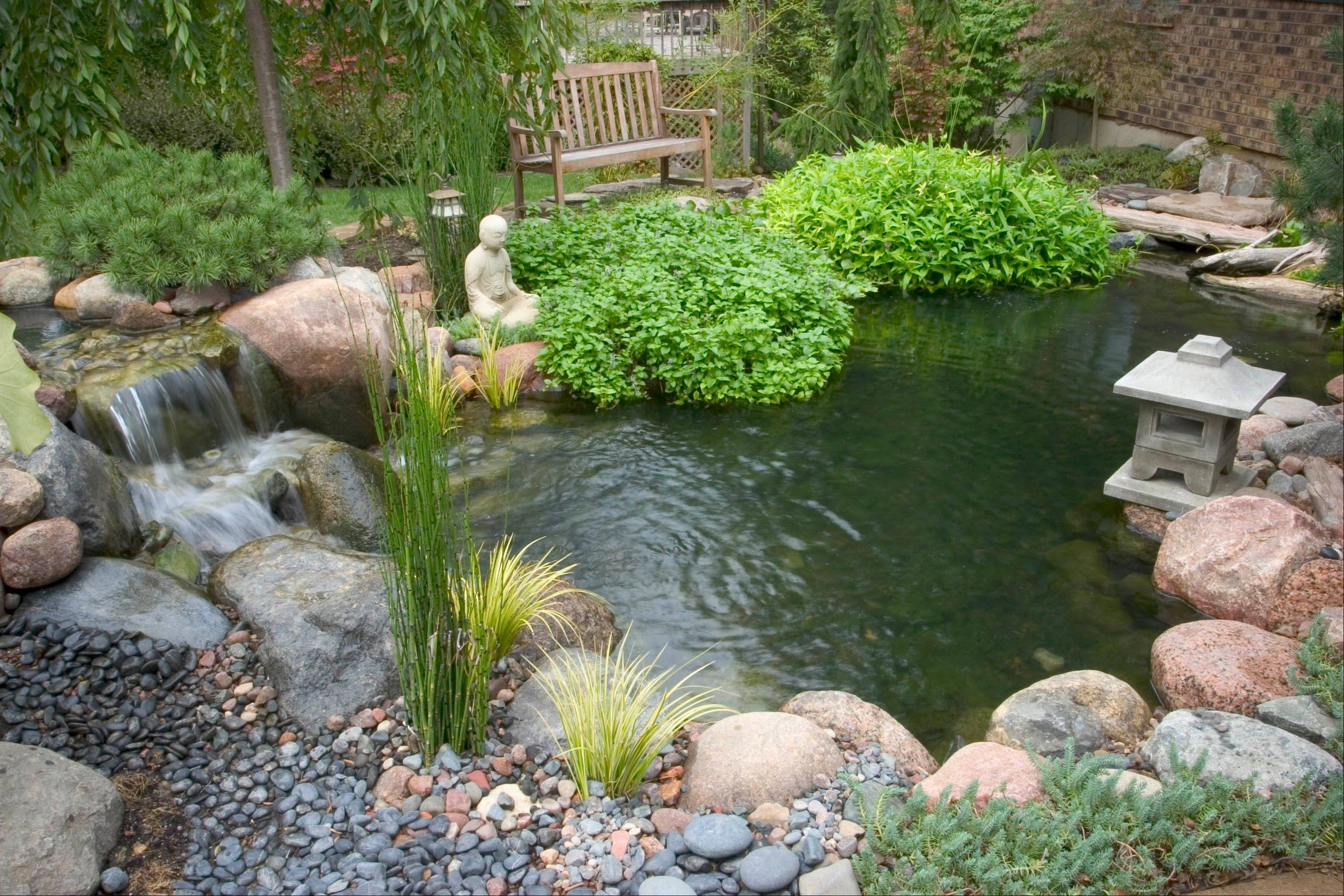 Ponds, such as this Zen garden pond, are making a strong comeback in part because technological advances have made them easier to maintain.