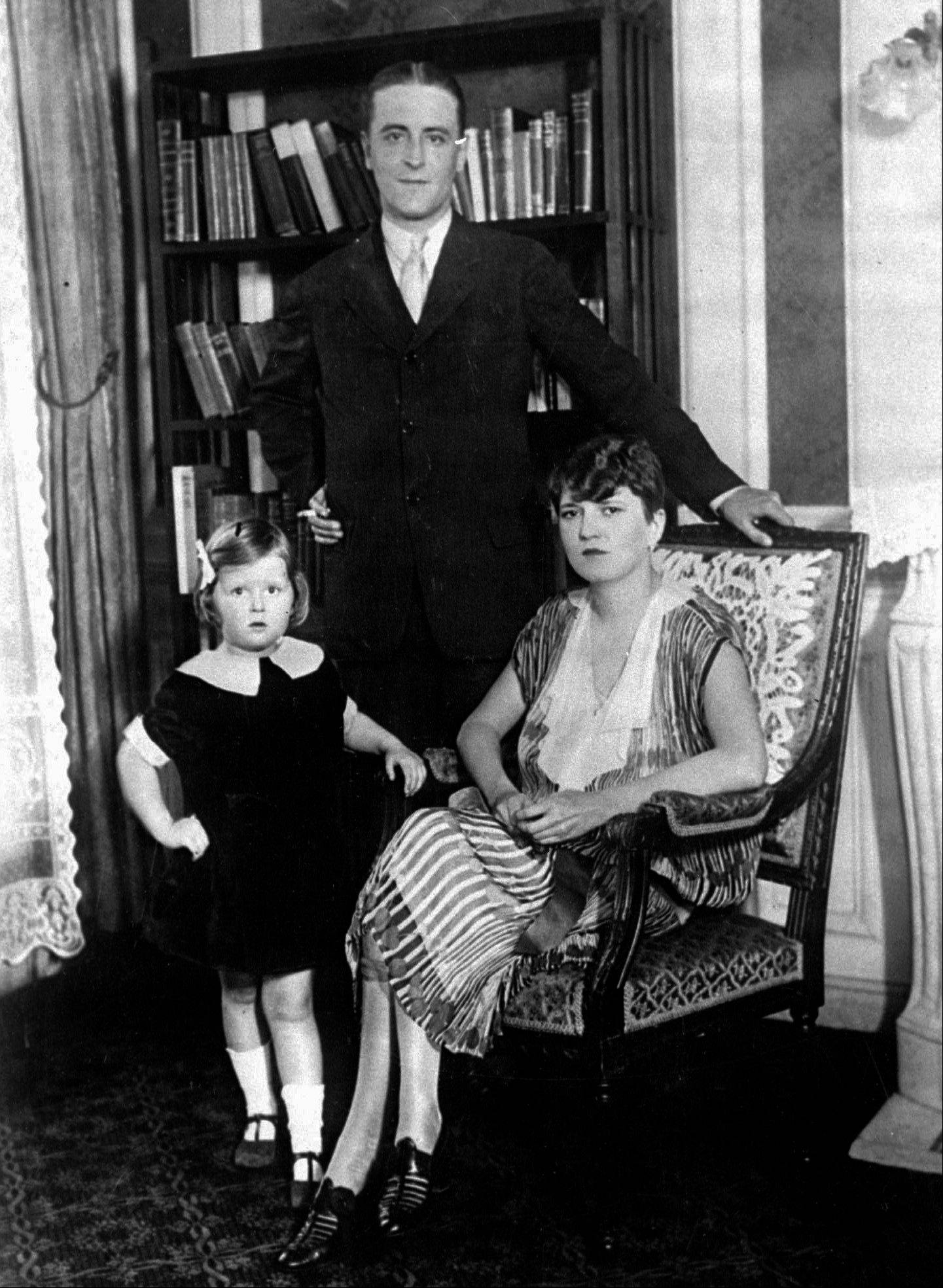 "American author F. Scott Fitzgerald and his wife, Zelda, and daughter, Scotty, in their Paris apartment in 1926. Fitzgerald lived in Paris as an expatriate during part of the period he christened ""the Jazz Age."""