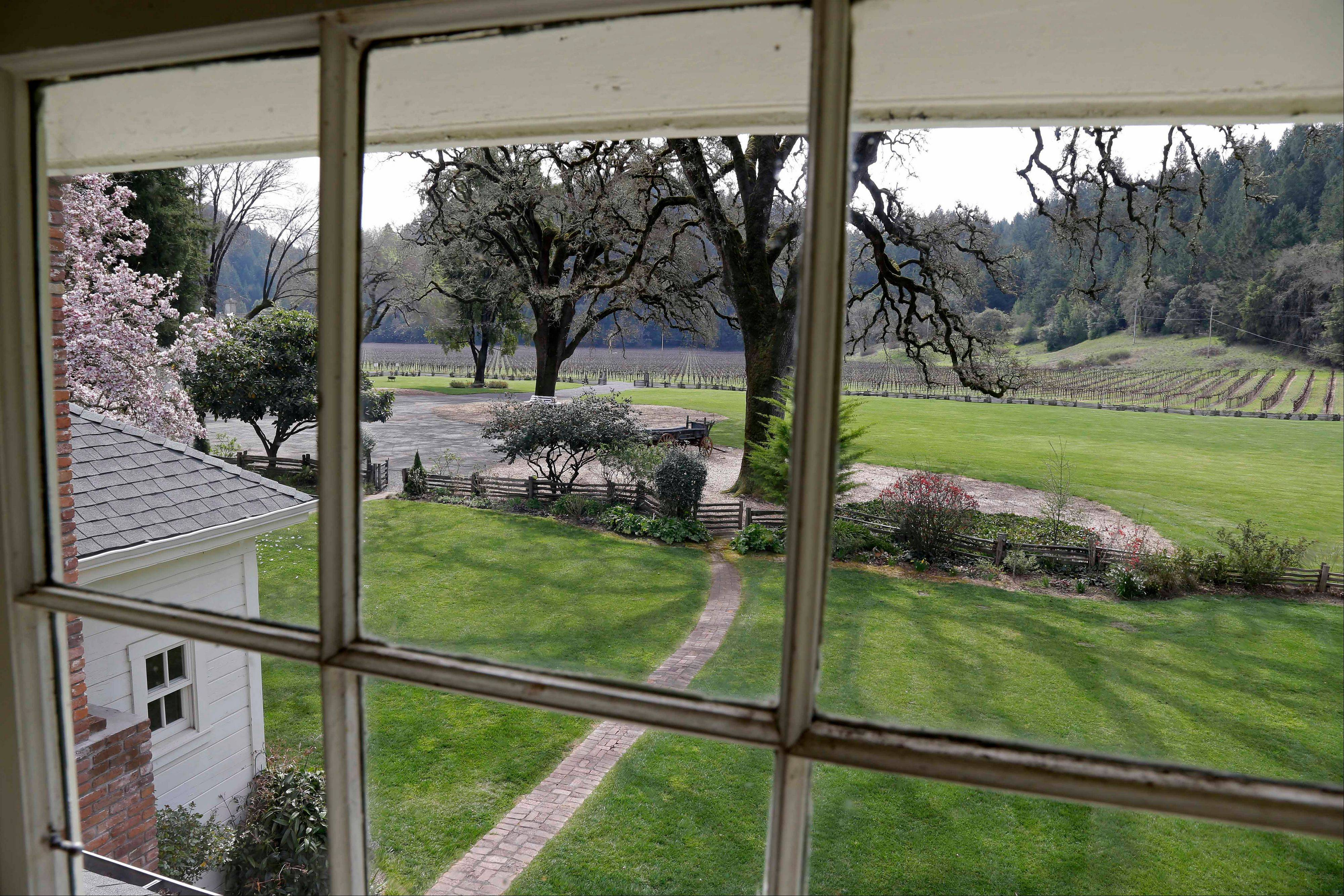 A view of vineyards at the MacMurray Ranch is seen from an upstairs window in actor Fred MacMurray's home in Healdsburg, Calif.