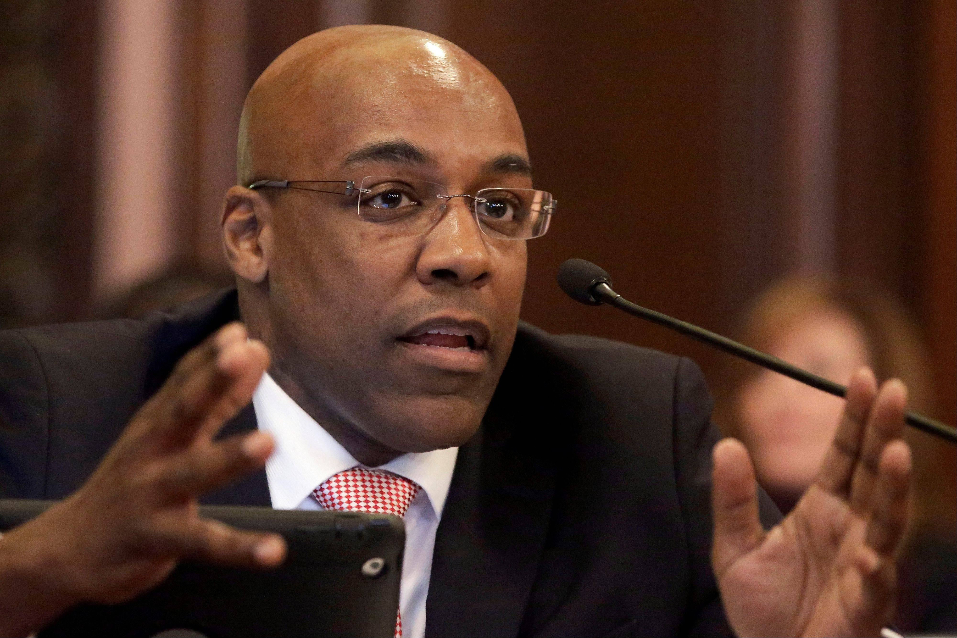 State Sen. Kwame Raoul, a Chicago Democrat, ask questions during a Senate Executive Committee hearing at the Capitol in Springfield. There are fewer than 30 days to go before a judicial deadline for developing a framework allowing public weapons possession in Illinois. A December federal court order calling the ban unconstitutional set a June 9 deadline for rectifying the problem. Raoul is refining an earlier concealed-carry proposal, which drew gun-owners' derision last month, and discussions with Senate Democrats could yield consensus ready for a vote in the next few days, a spokeswoman said.