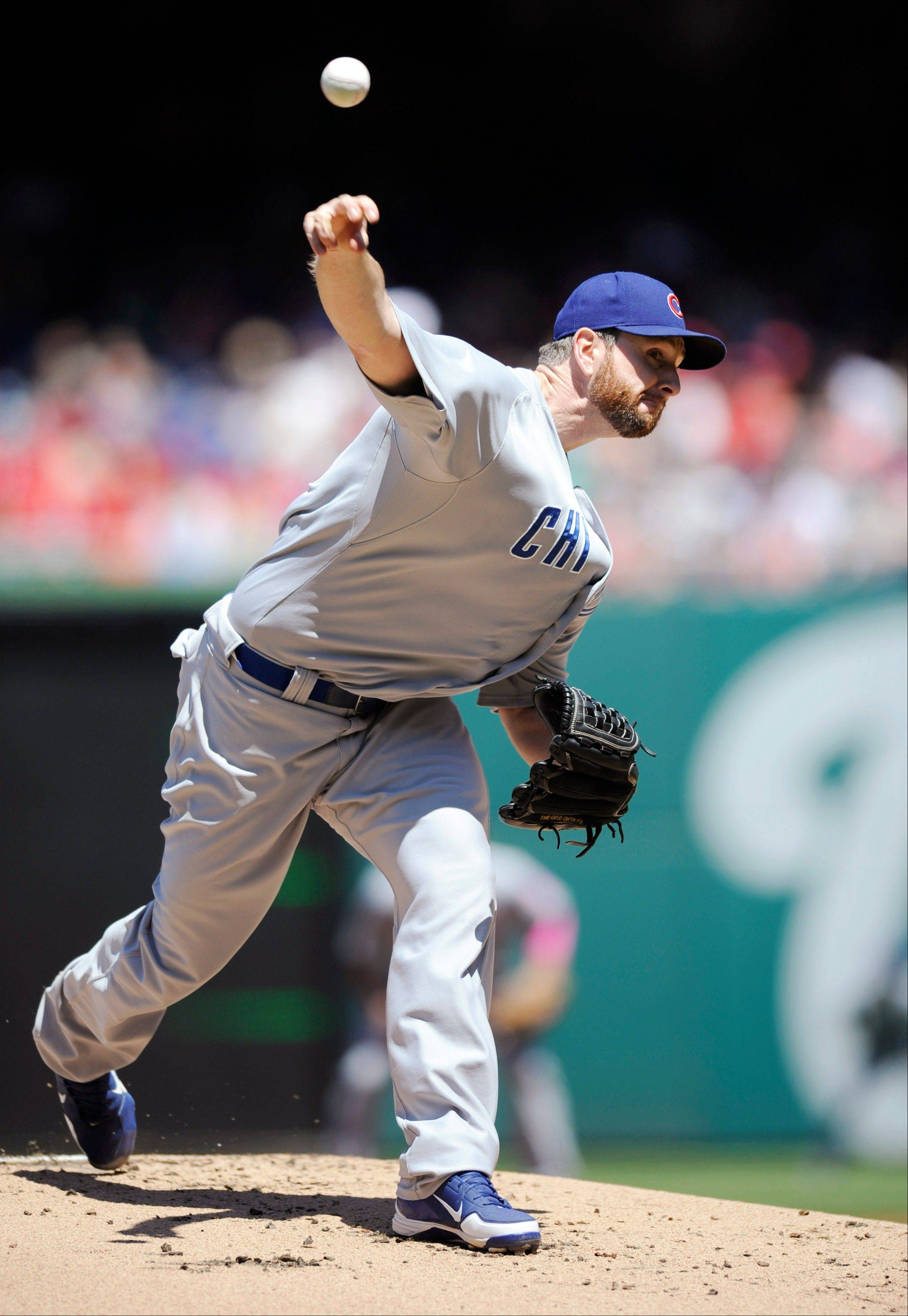 Cubs starting pitcher Scott Feldman delivers Sunday against the Washington Nationals.