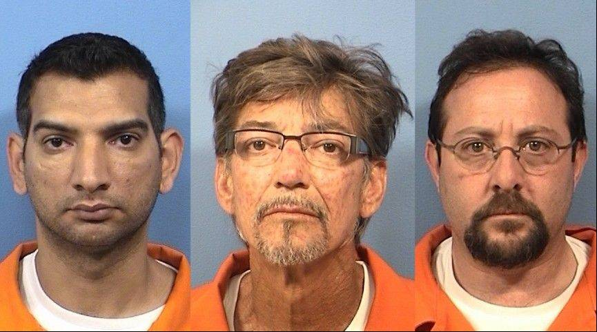"Arif Mahmood, left, Mark McDonald and David Tepper all face charges after the DuPage County Forest Preserve District helped uncover what prosecutors are calling a series of ""elaborate"" schemes."