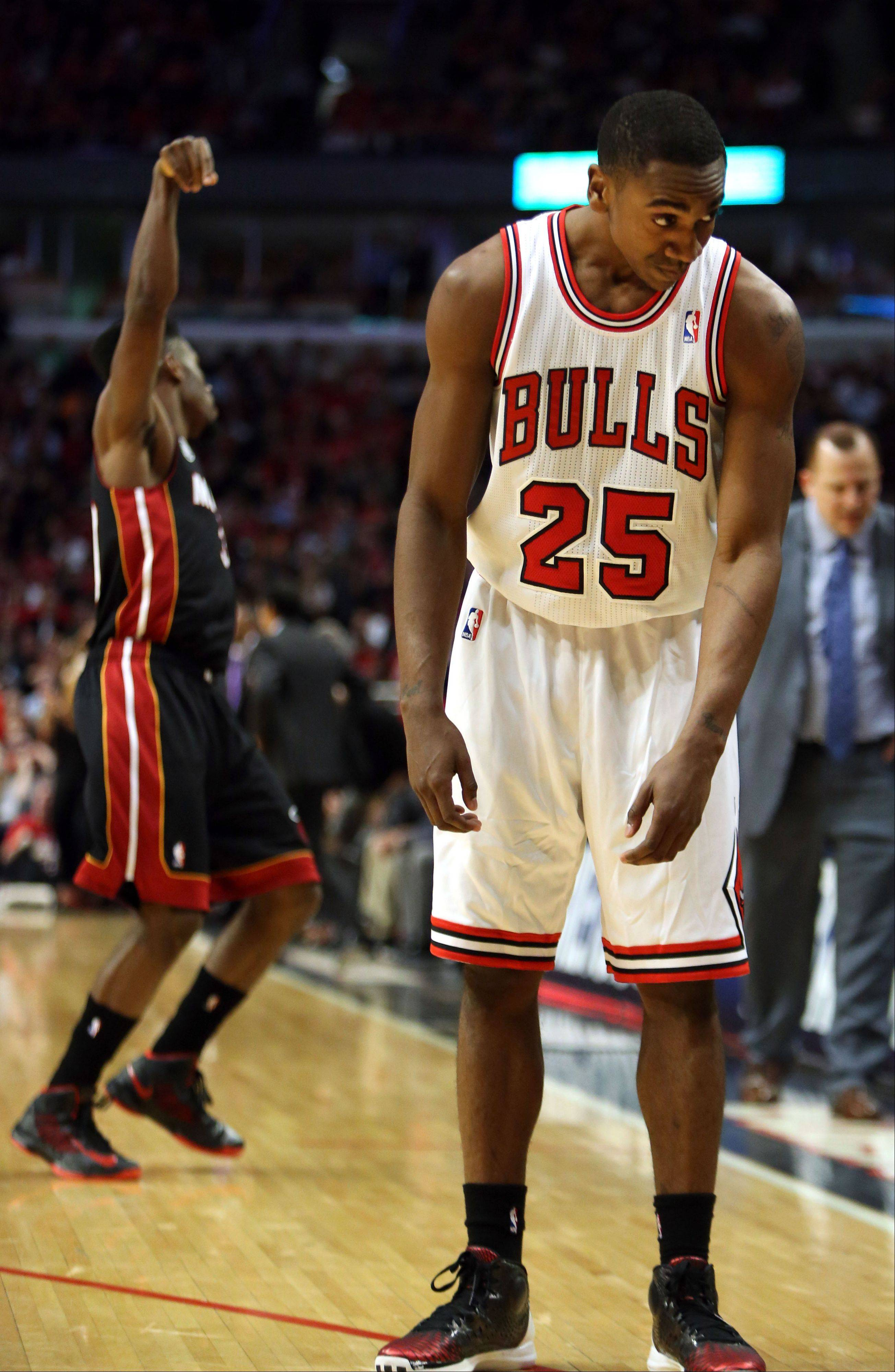 Bulls guard Marquis Teague can't believe the 3-point shot made by Miami's Norris Cole at the buzzer to close the first half during Game 4 on Monday night at the United Center.