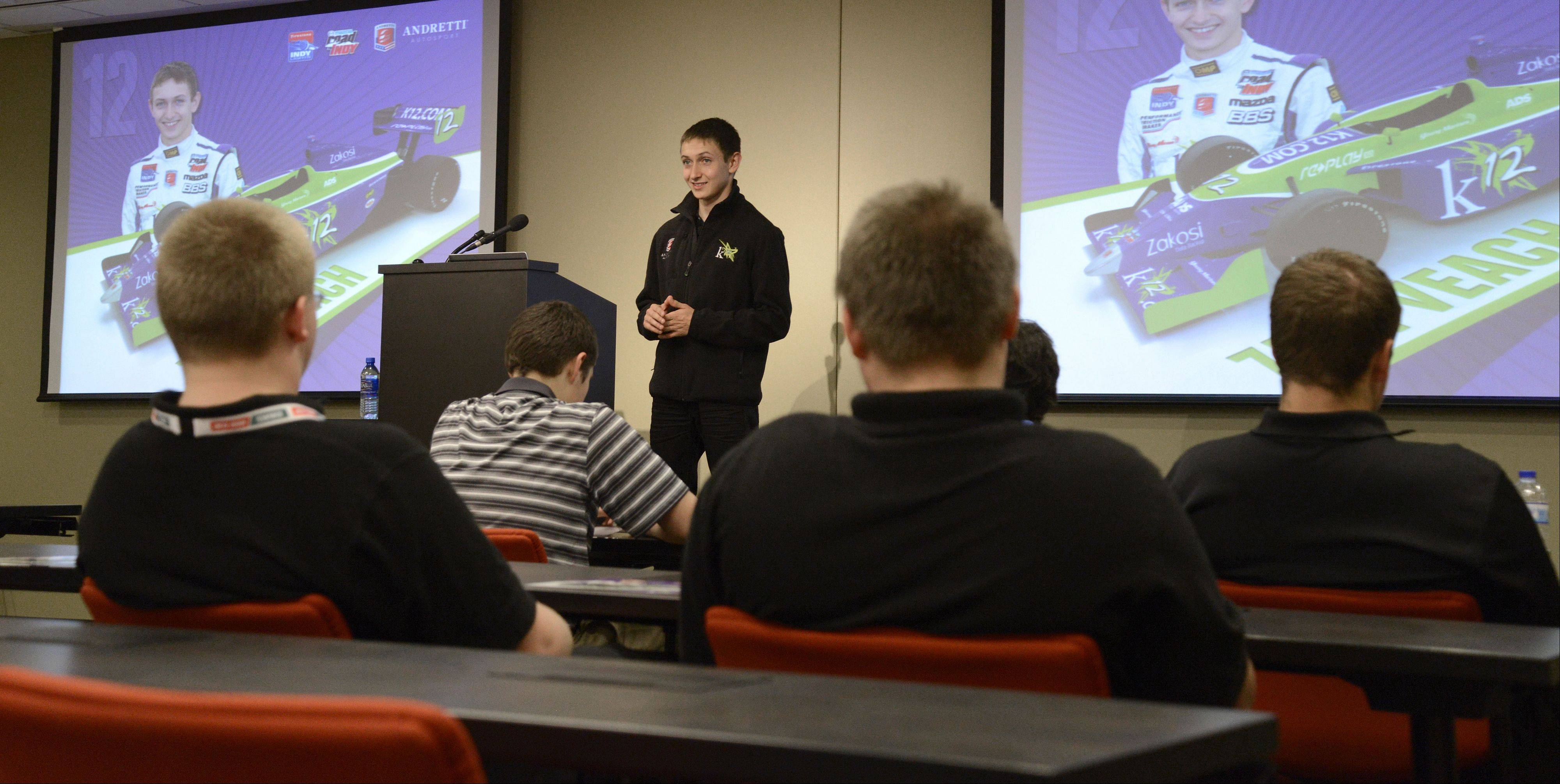 Students from Elk Grove, Buffalo Grove and John Hersey high schools joined manufacturing executives to learn about the industry and listen to 18-year-old IndyCar driver Zach Veach talk about his career during a visit to DMG/Mori Seiki in Hoffman Estates.