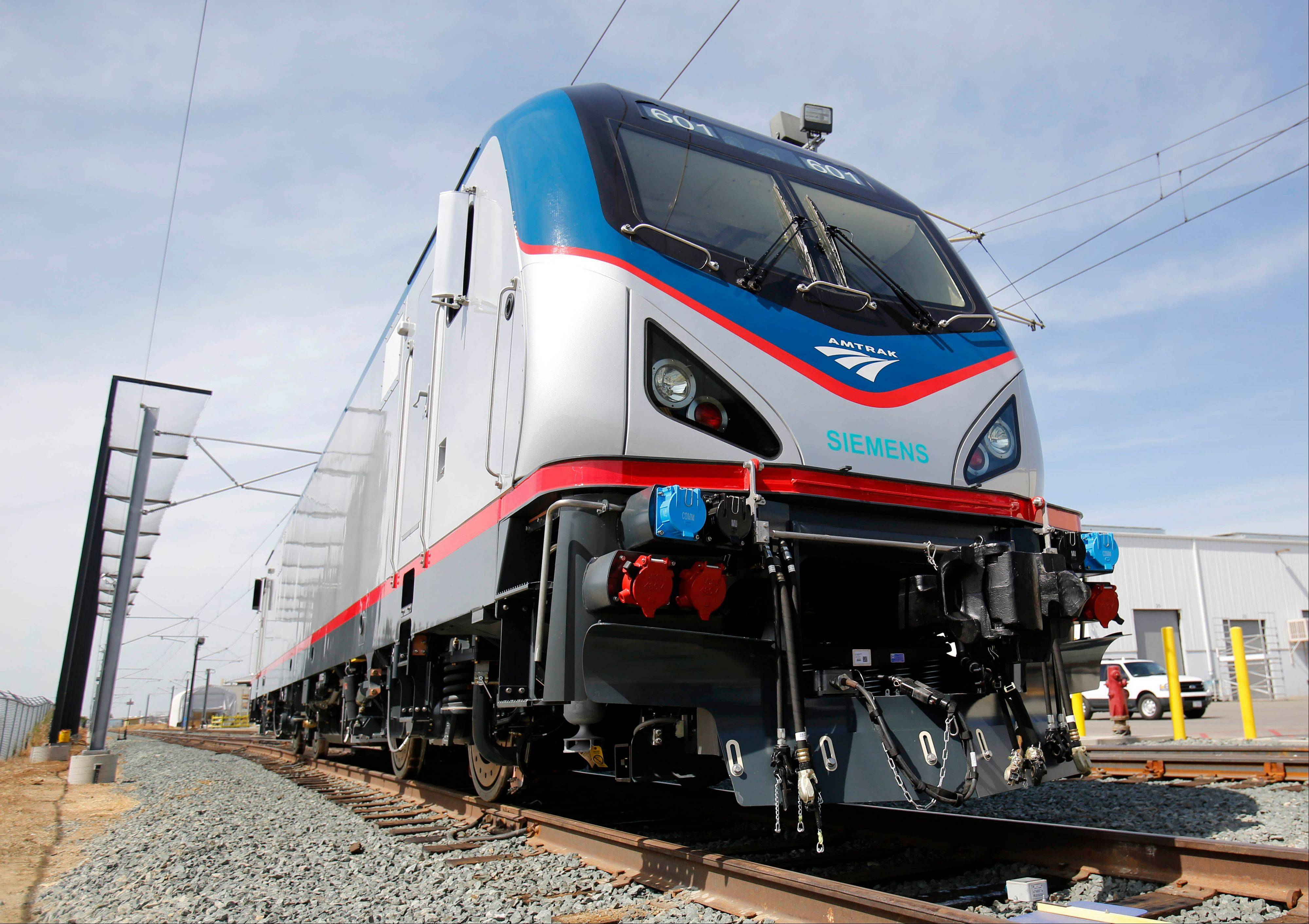One of the new Amtrak Cities Sprinter Locomotives built by Siemens Rails Systems in Sacramento, Calif.