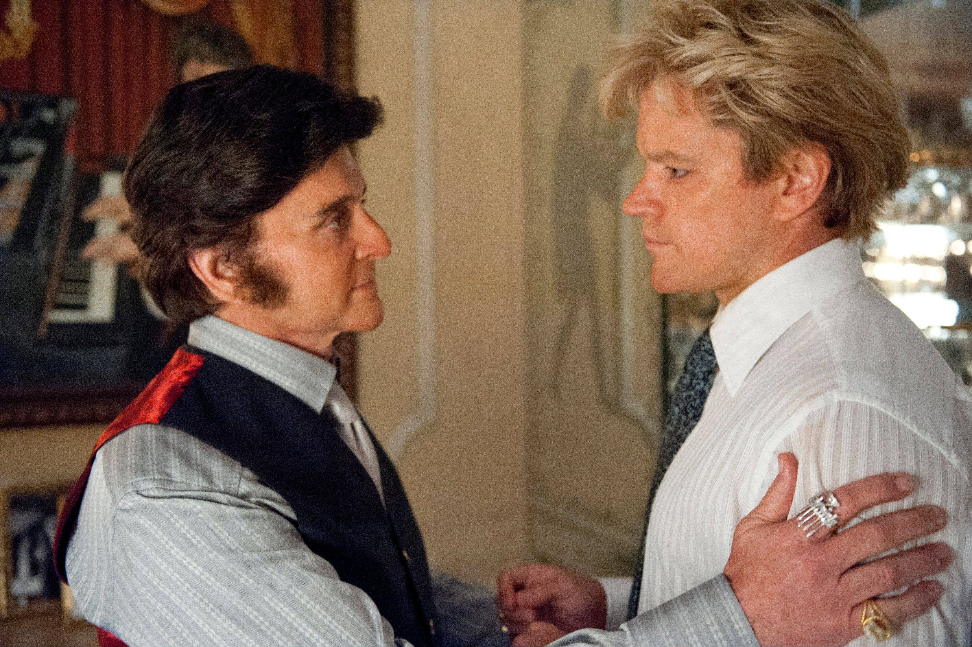 "Michael Douglas, left, plays Liberace, and Matt Damon, as Scott Thorson in ""Behind the Candalabra,"" a film being shown at the Cannes Film Festival."