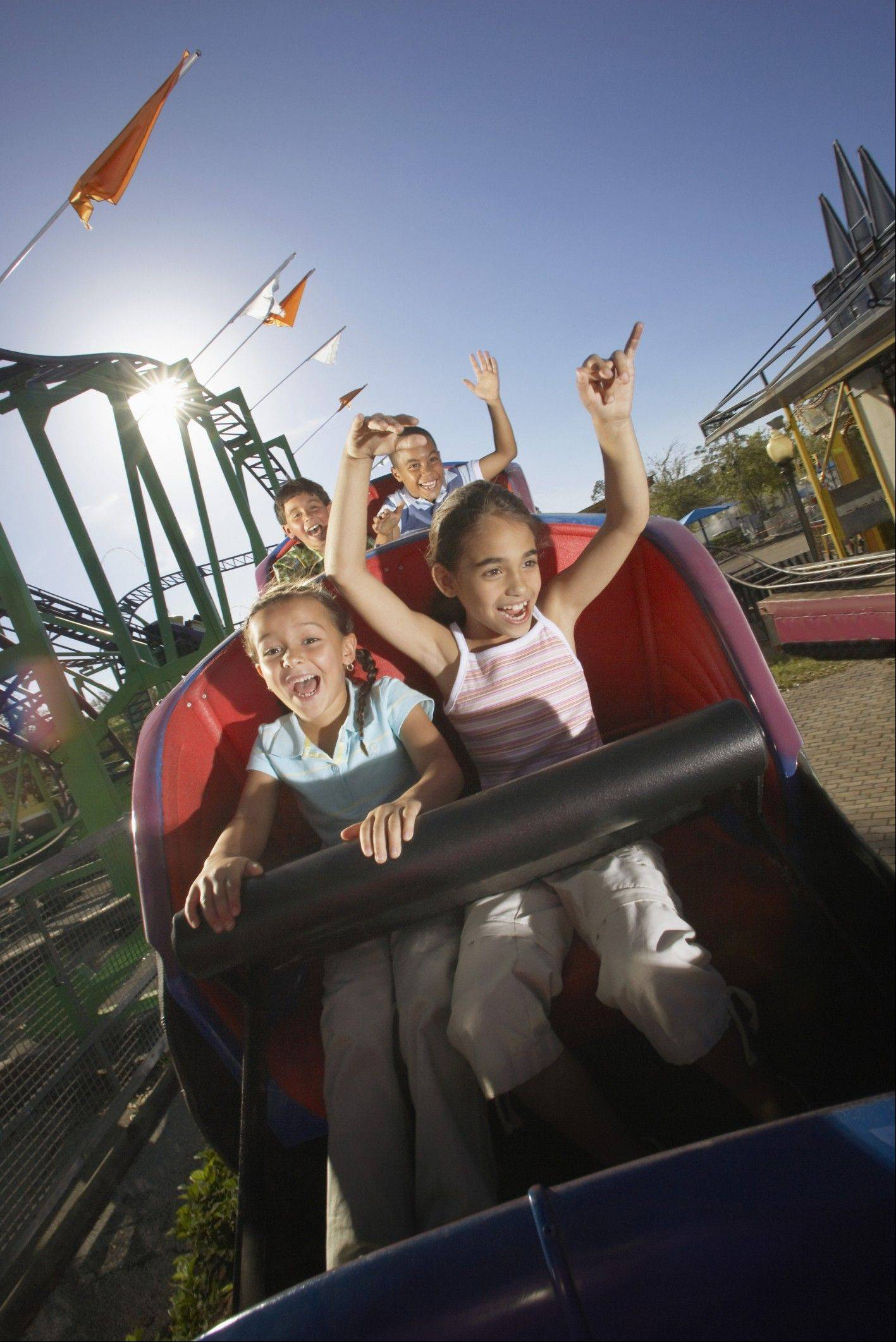 Younger children need to take safety precautions when on amusement park rides to avoid injury.