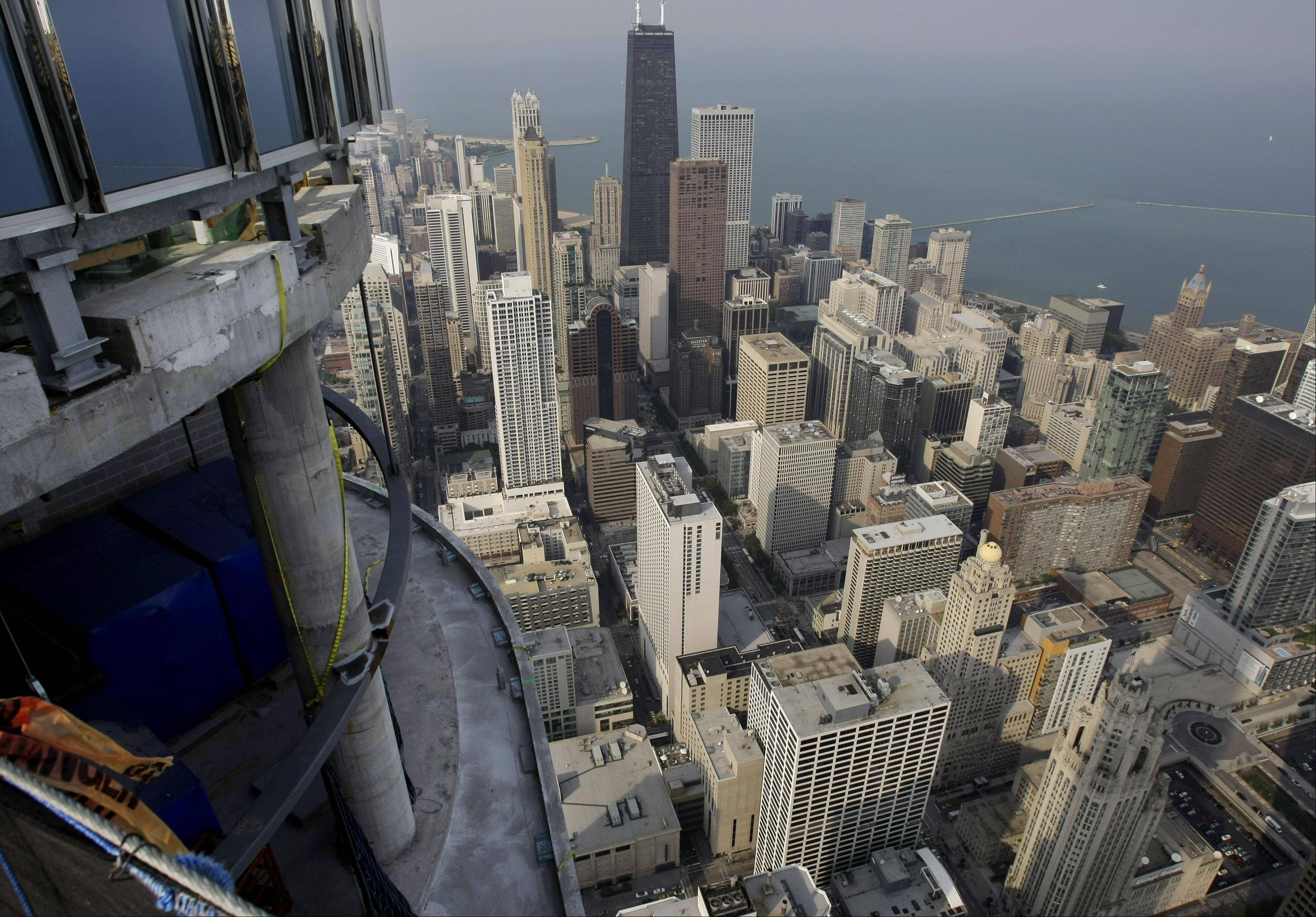 This is a view from the roof of the Trump International Hotel & Tower in Chicago