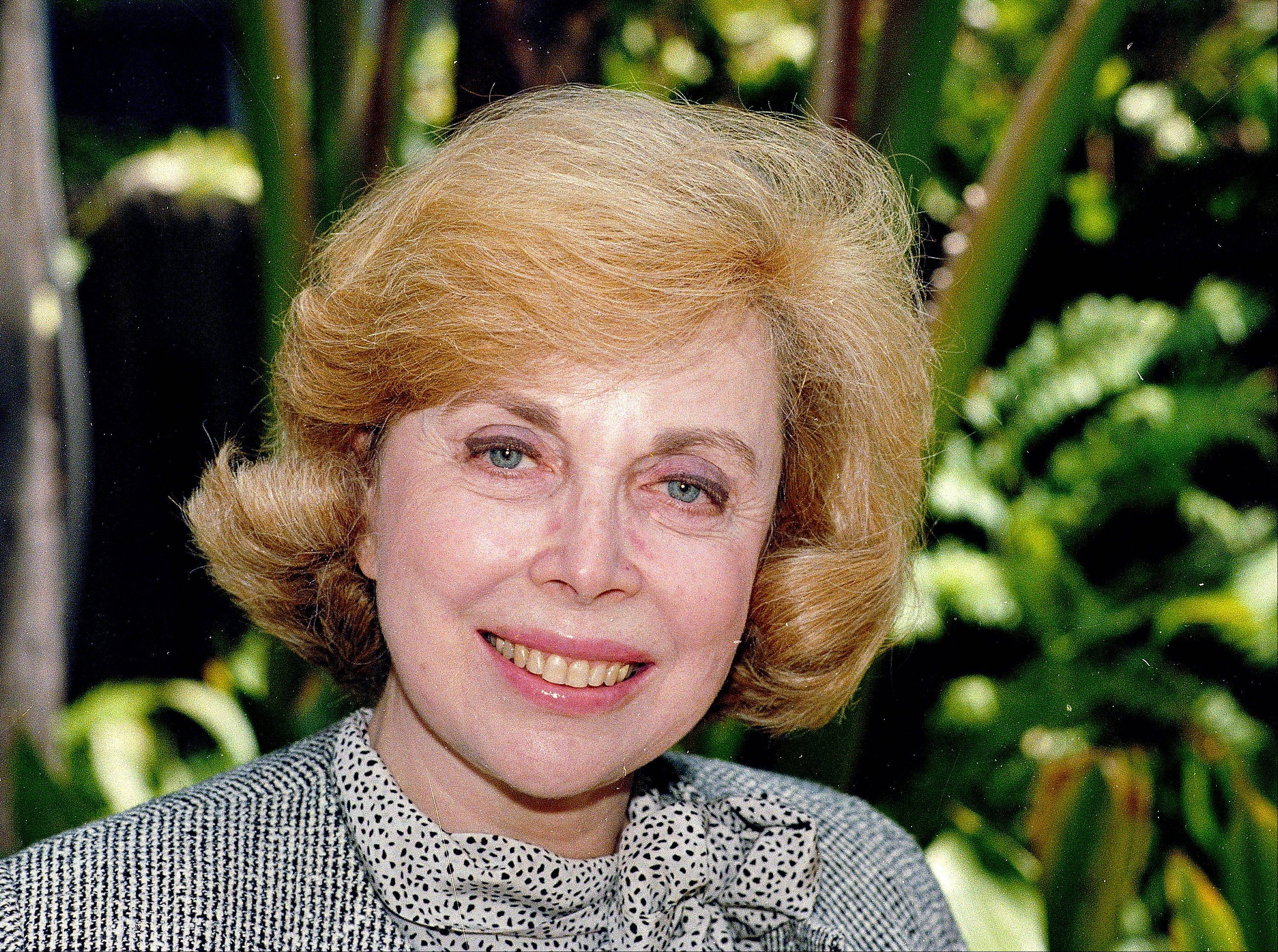 "In this Sept. 1, 1987 file photo, Dr. Joyce Brothers takes a break from a busy schedule in Los Angeles to talk about her upcoming television series, ""The Psychology Behind the News."" Brothers died Monday, May 13, 2013, in New York City, according to publicist Sanford Brokaw. She was 85."