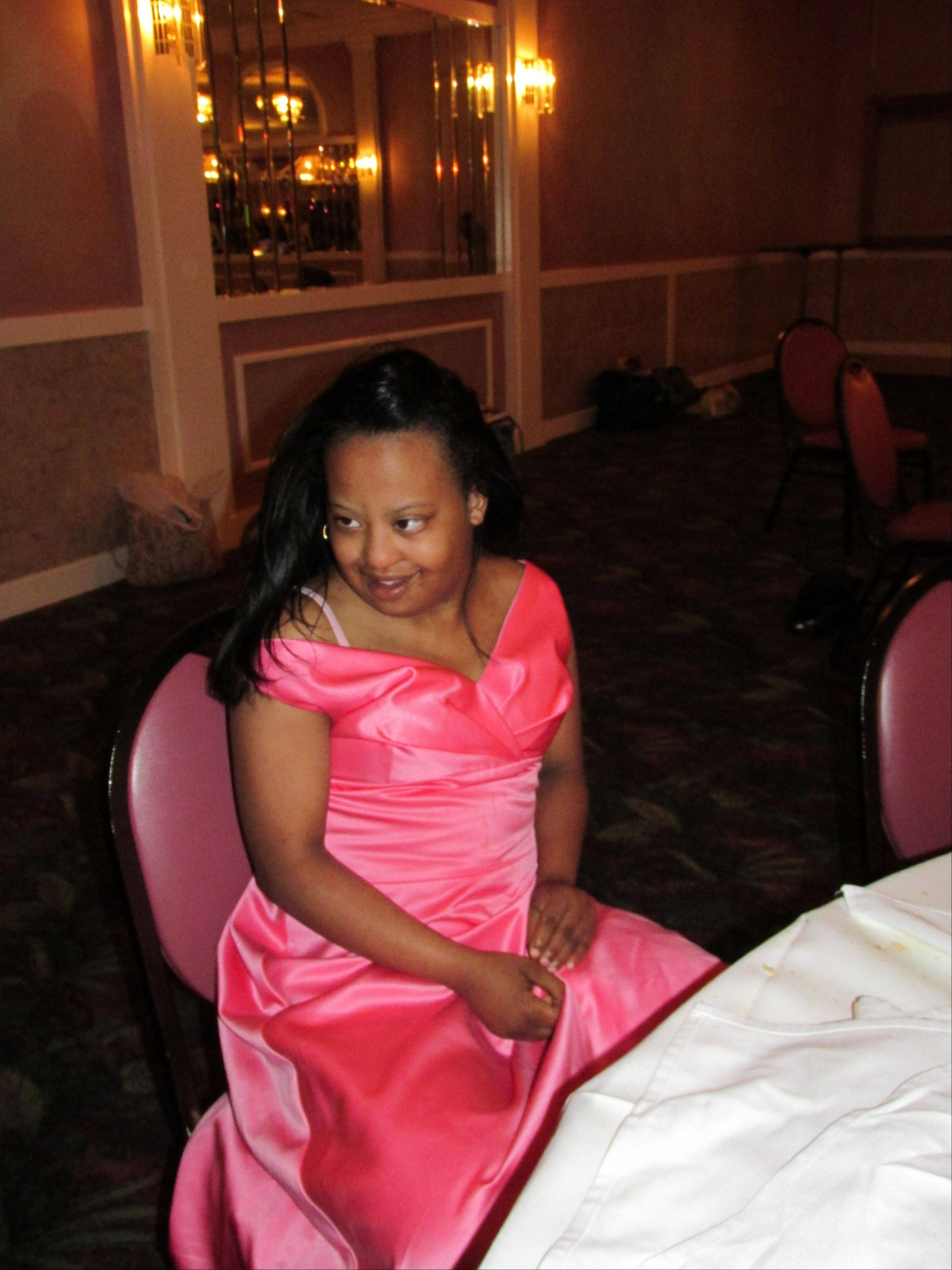 Jasmine Gresham looking radiant as she takes a break from the action on the dance floor.