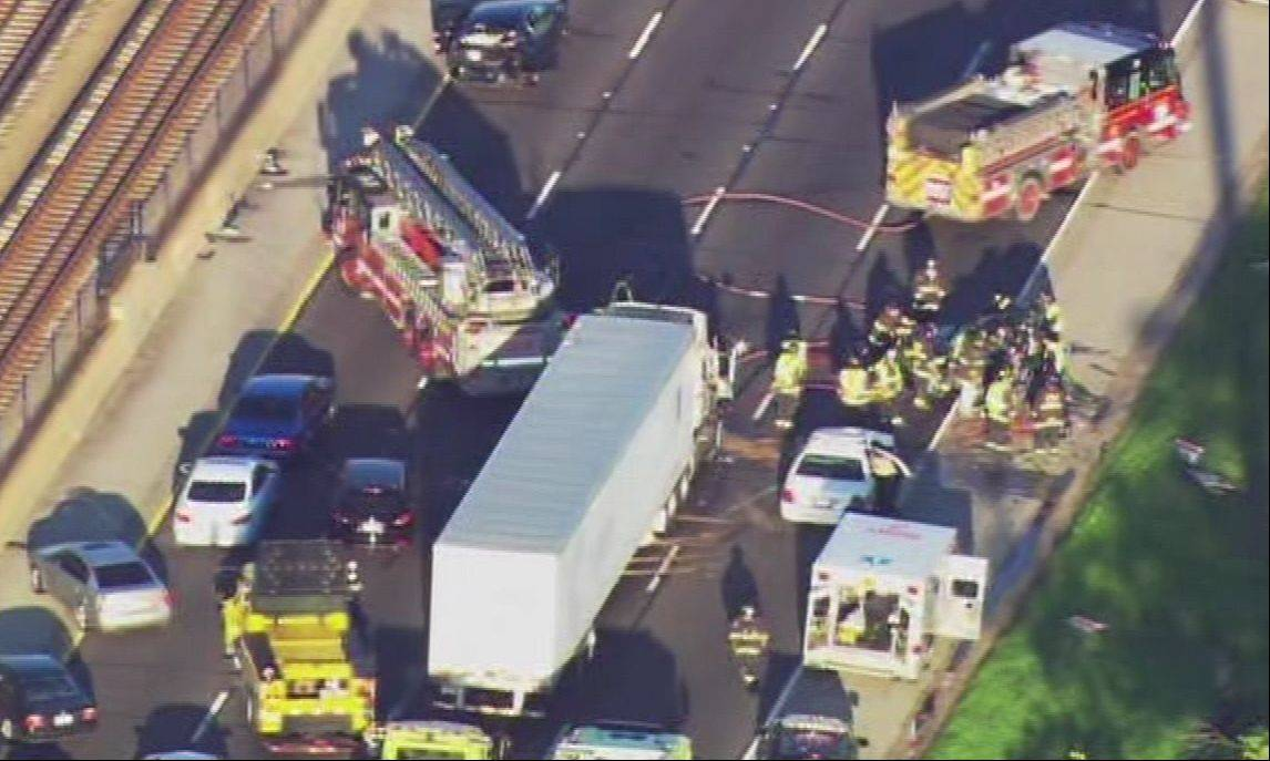 Police and fire respond to the scene of a fatal crash Monday morning that shut down the outbound lanes of the Kennedy Expressway. A 65-year-old Chicago man was killed in the crash, police said.