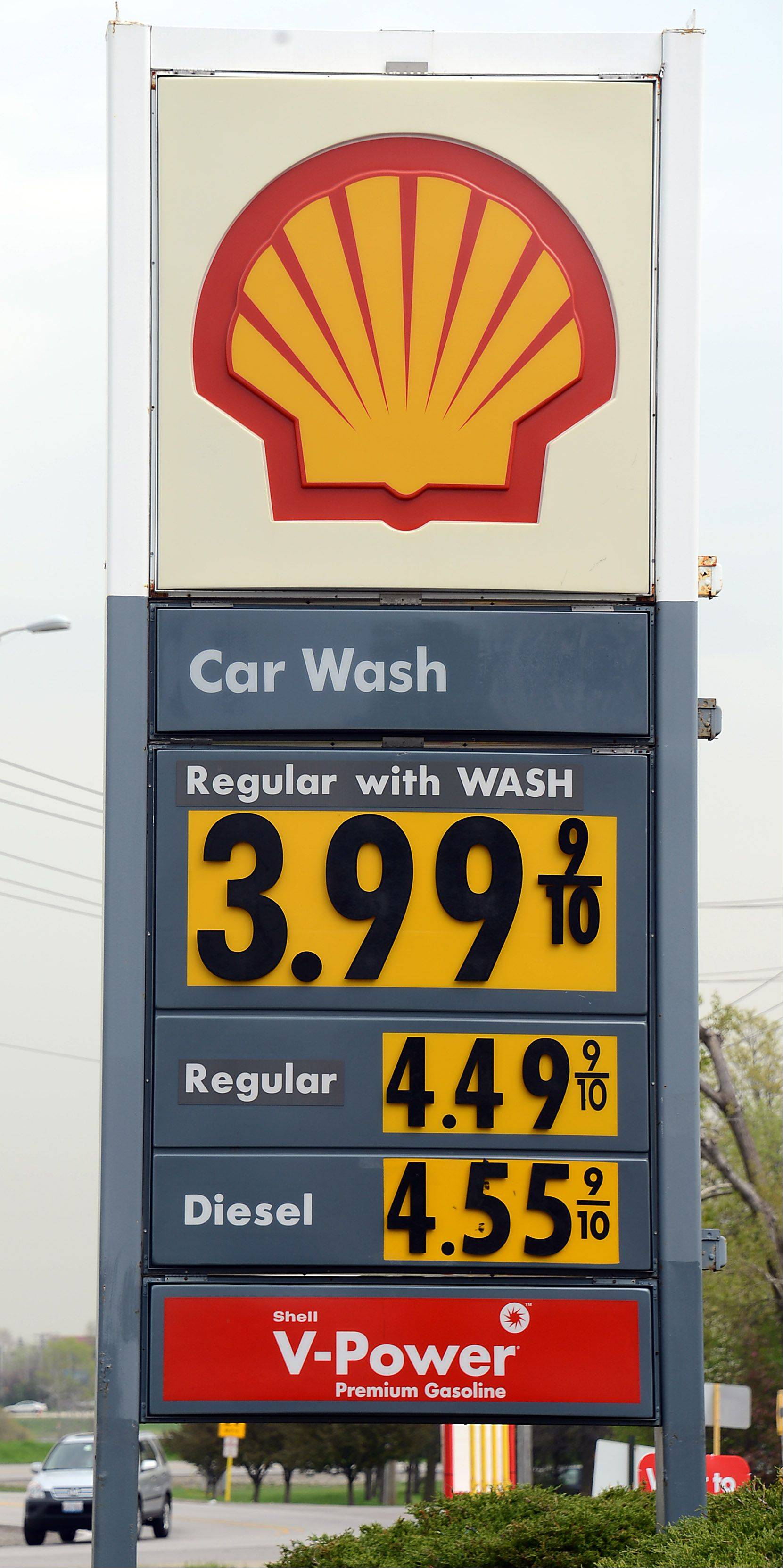 A gallon of regular unleaded was $4.49 without a wash at this Shell station in Palatine Thursday, far above national averages.
