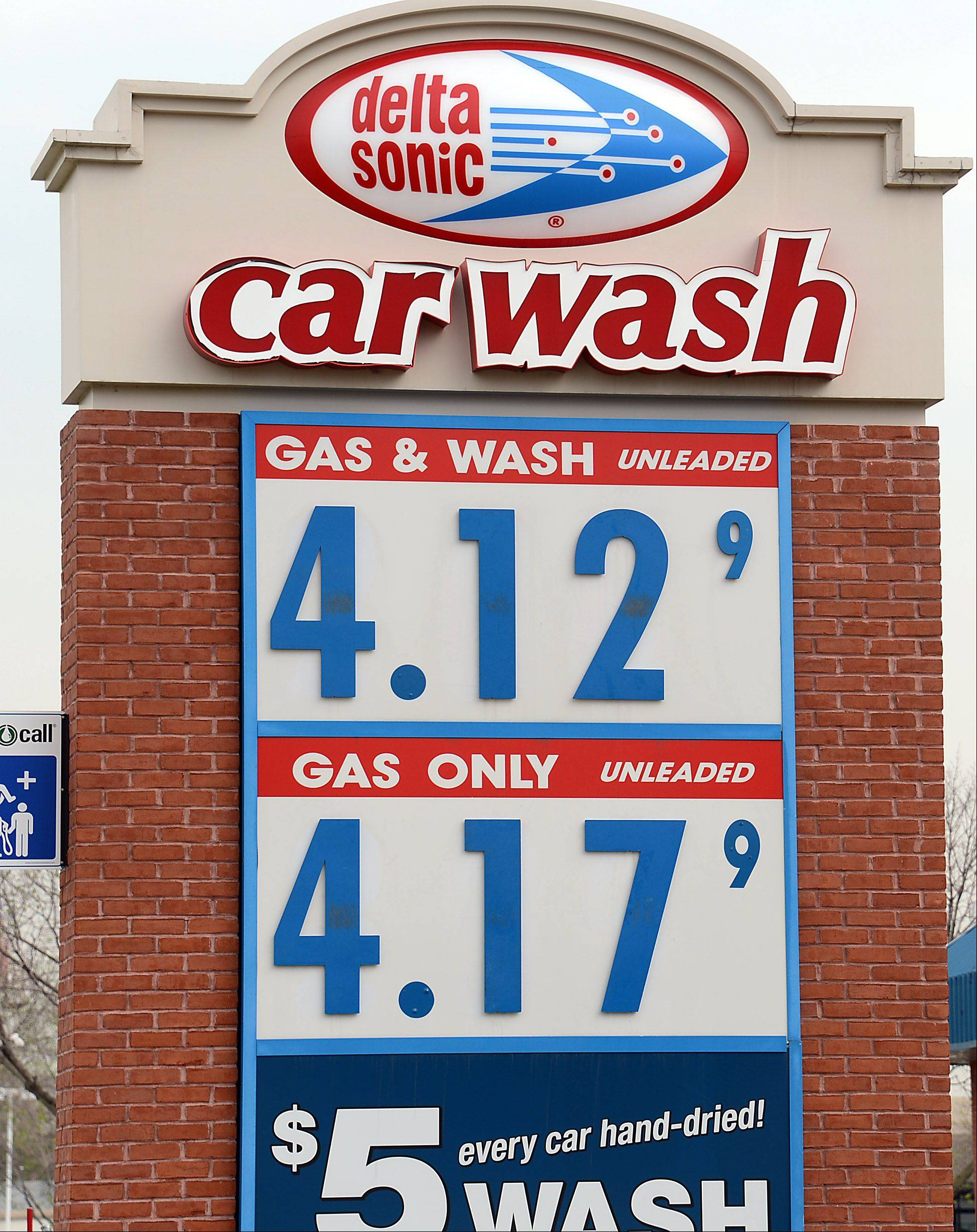 A gallon of regular unleaded was $4.17 without a wash at this Delta Sonic station in Palatine Thursday, far above national averages.