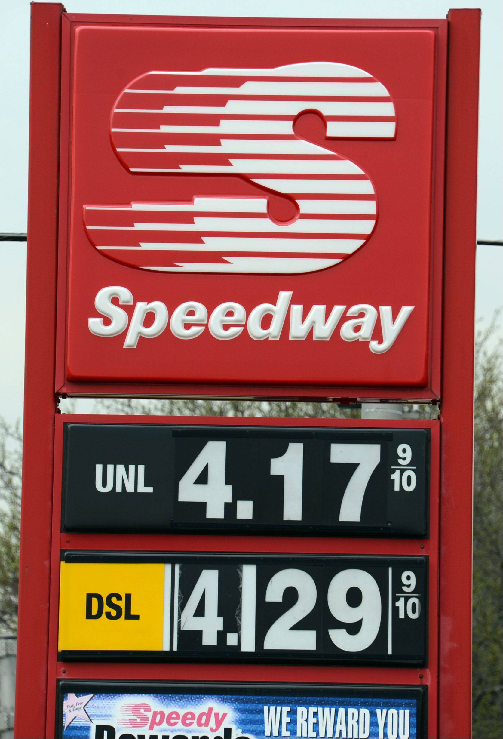 A gallon of regular unleaded was $4.17 at this Speedway station in Palatine Thursday, far above national averages.