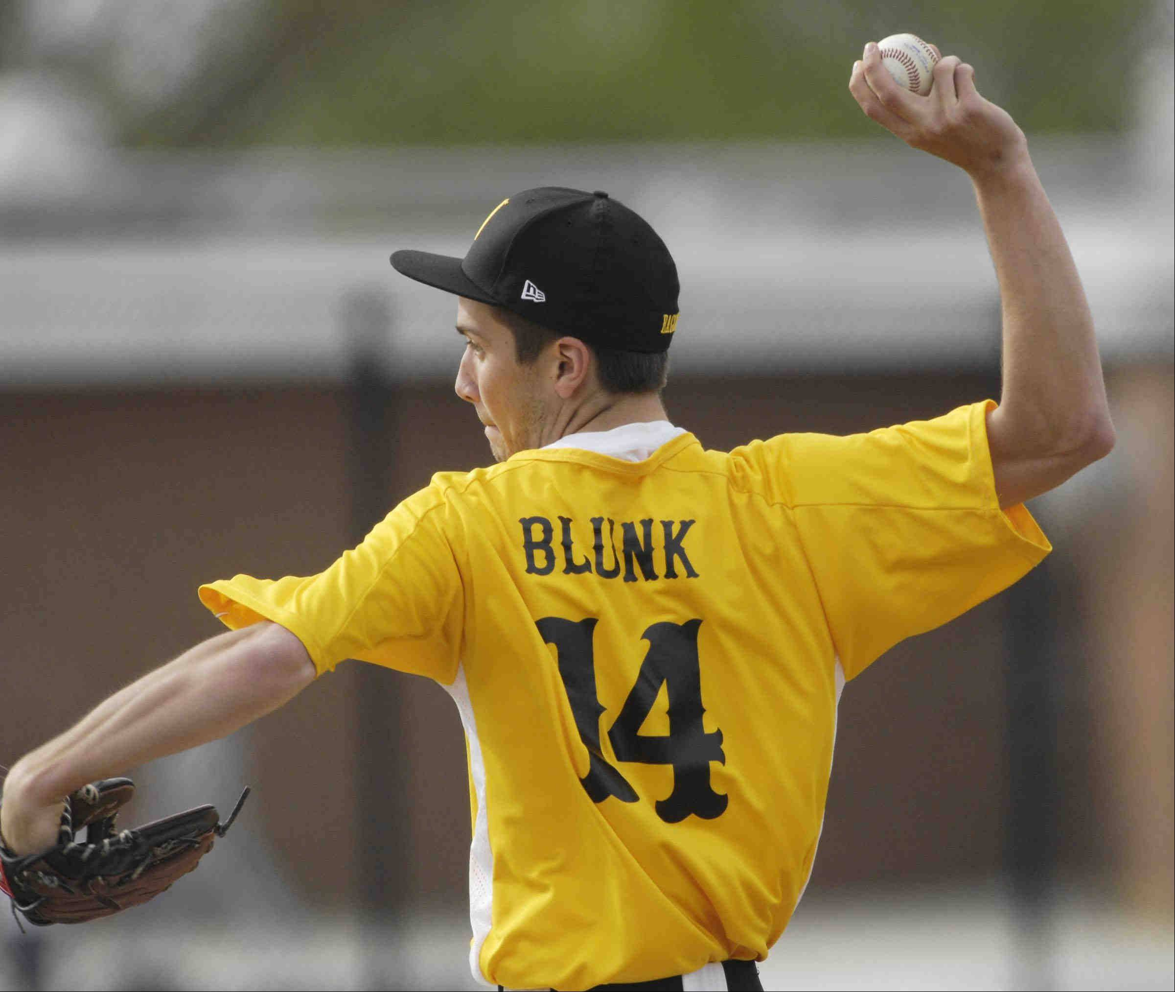 Jacobs starting pitcher Evan Blunk against Dundee-Crown Monday in Carpentersville.