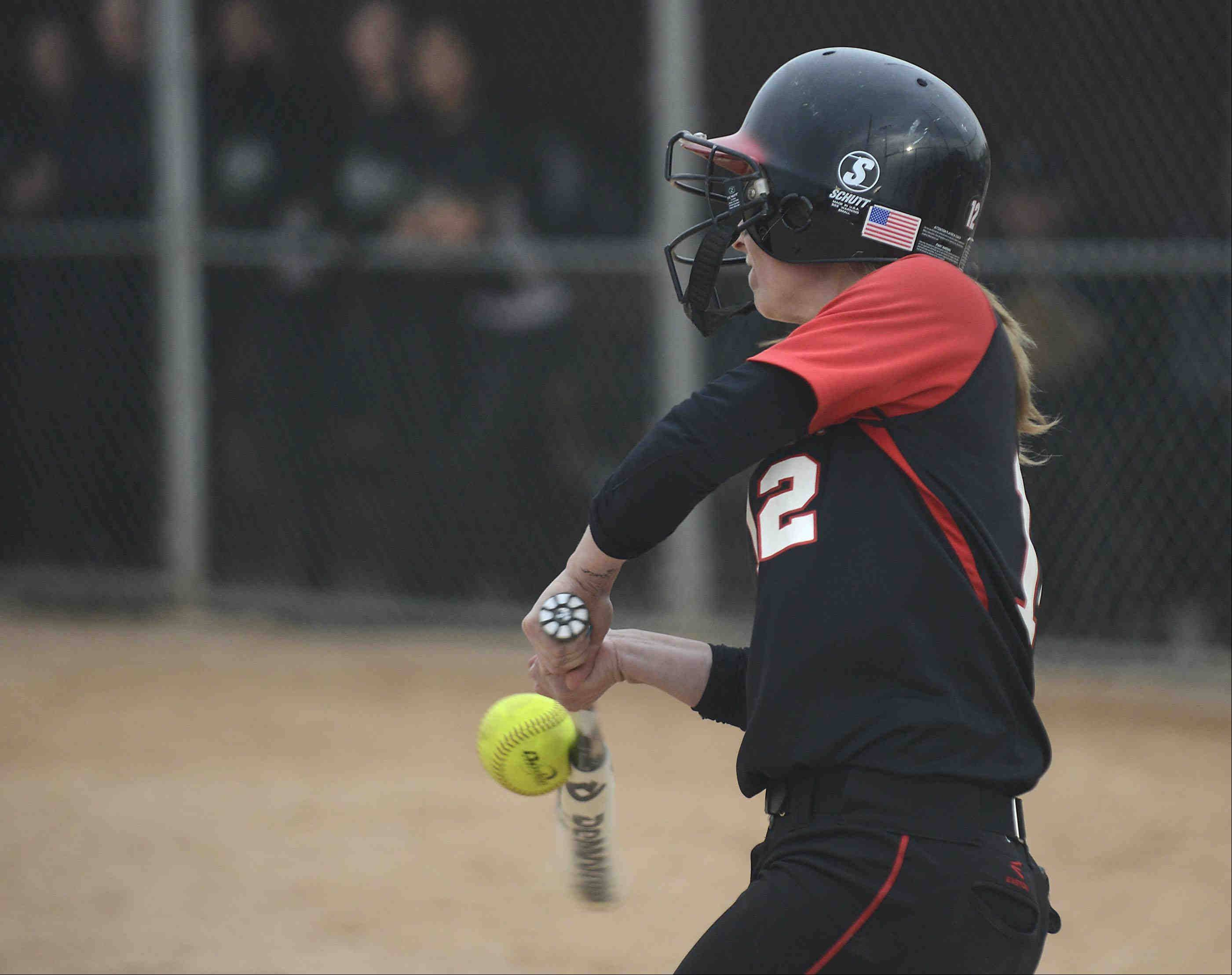 Barrington's Loren Krzysko connects on an inside fastball to load the bases in the seventh inning against Fremd on Monday.