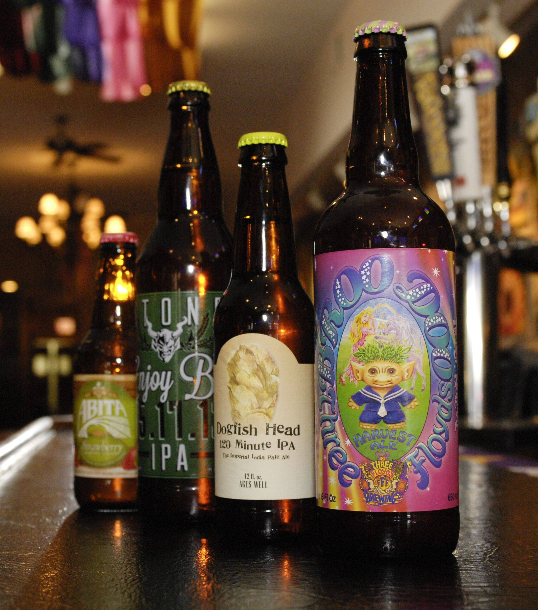 Specialty beers from Heaven on Seven in Naperville include Alita Strawberry, Enjoy By from Stone, 120 minute from Dogfish Head and Broo Doo from Three Floyds.