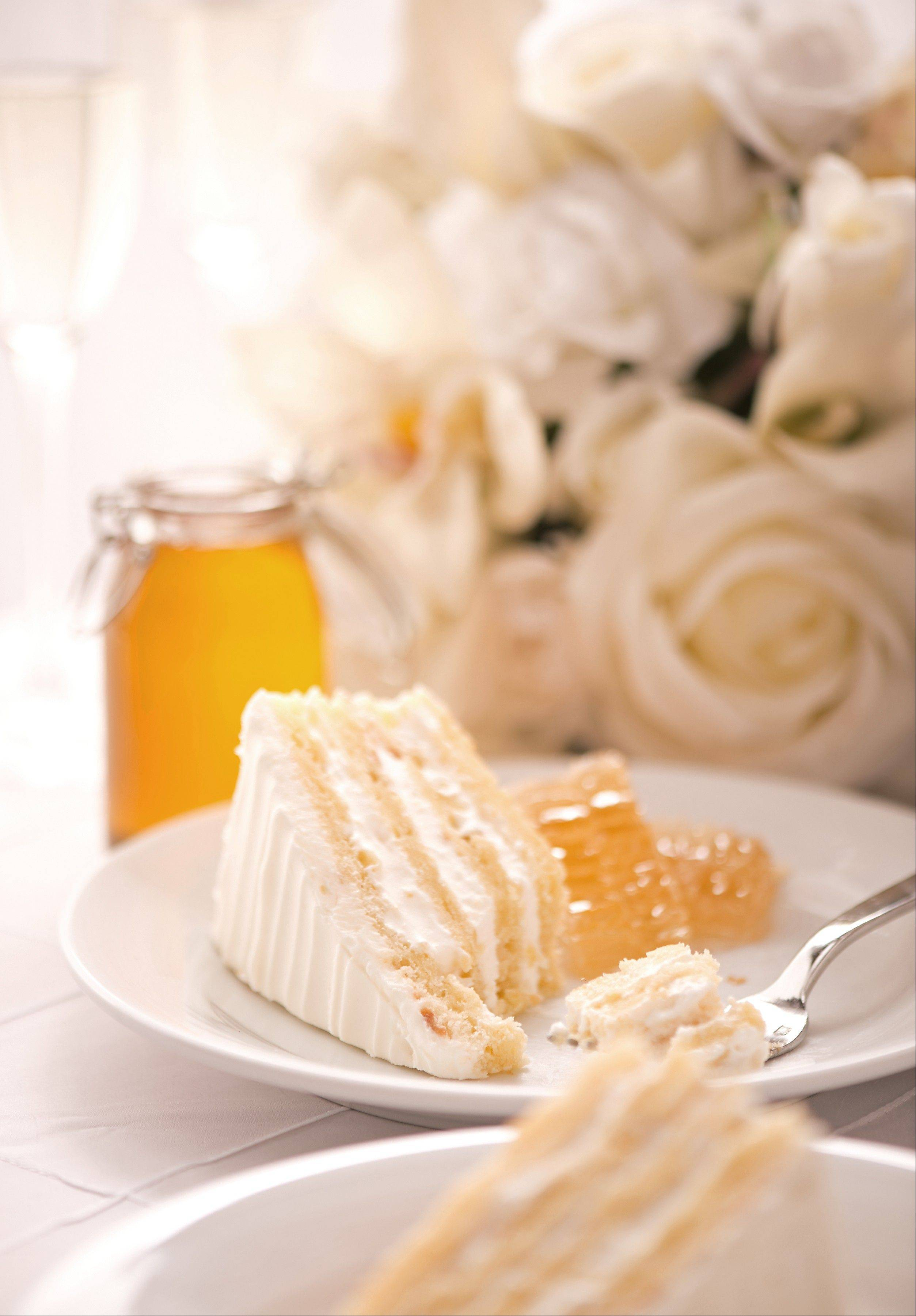 Honey harvested by hives located on the roof of the Chicago Marriott Naperviller flavors a wedding cake made by hotel pastry chef Erica Tomei.