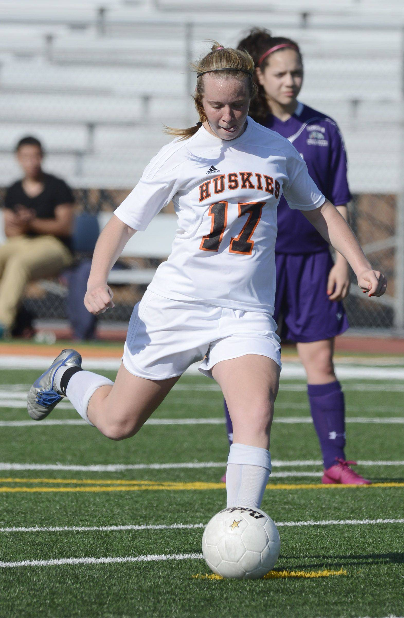 Hersey's Lauren Gierman scores on a penalty kick during the first half of Tuesday's regional semifinal against Waukegan.