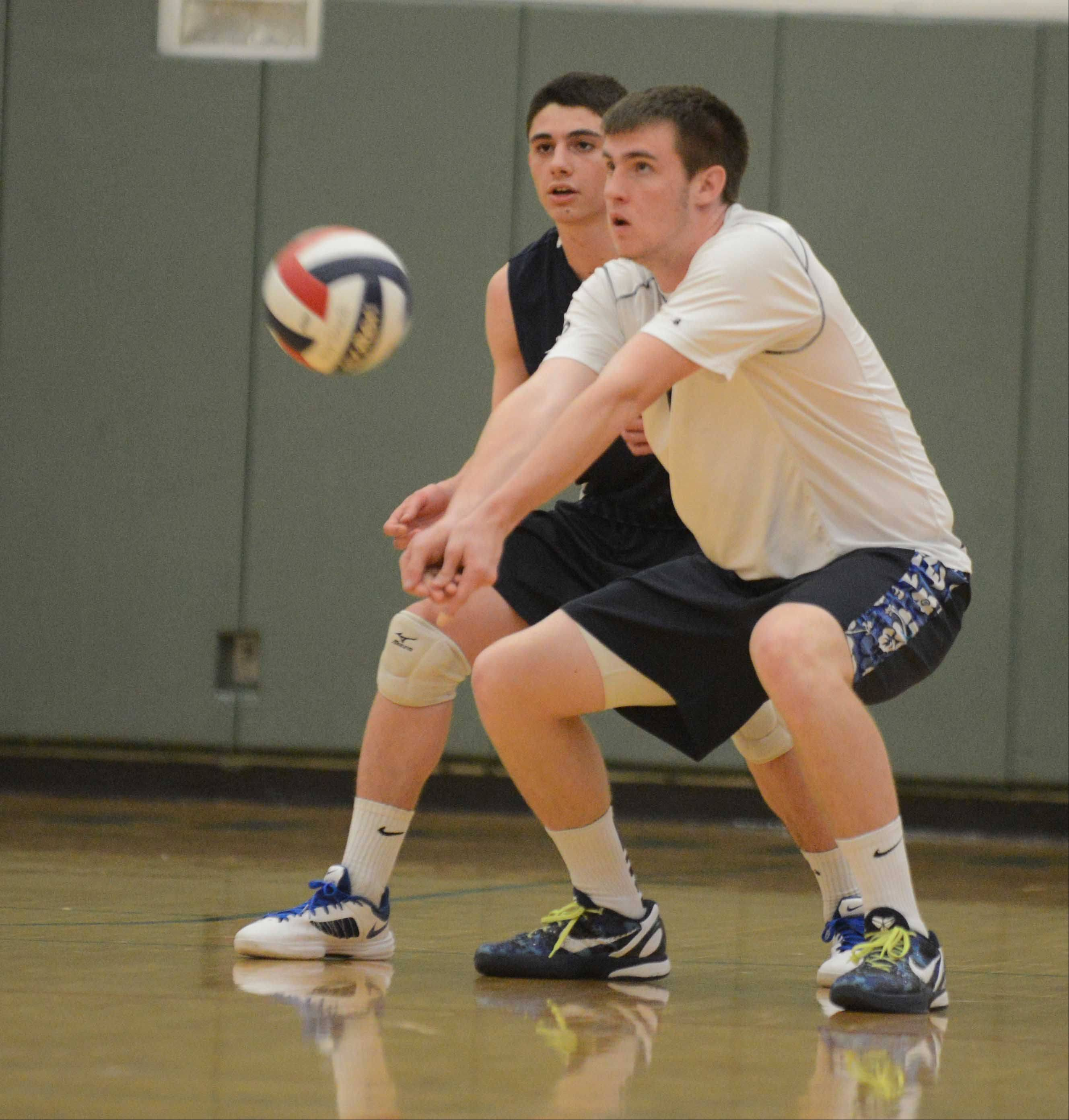 Dillon Hock of Lake Park bumps the ball during the Lake Park at Waubonsie Valley boys volleyball gameTuesday.