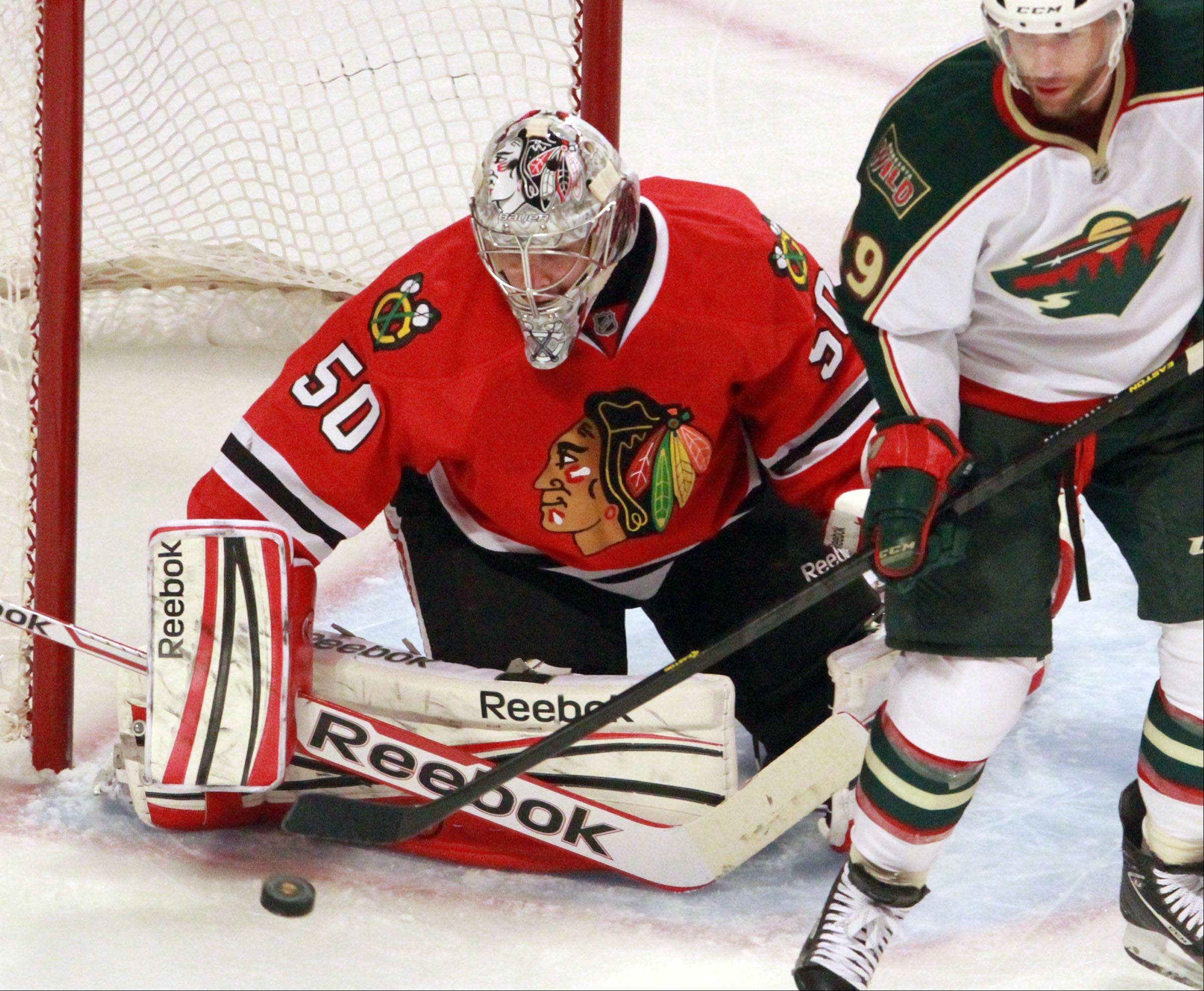 Goalie Corey Crawford and the Blackhawks open their series with the Detroit Red Wings on Wednesday night at the United Center.