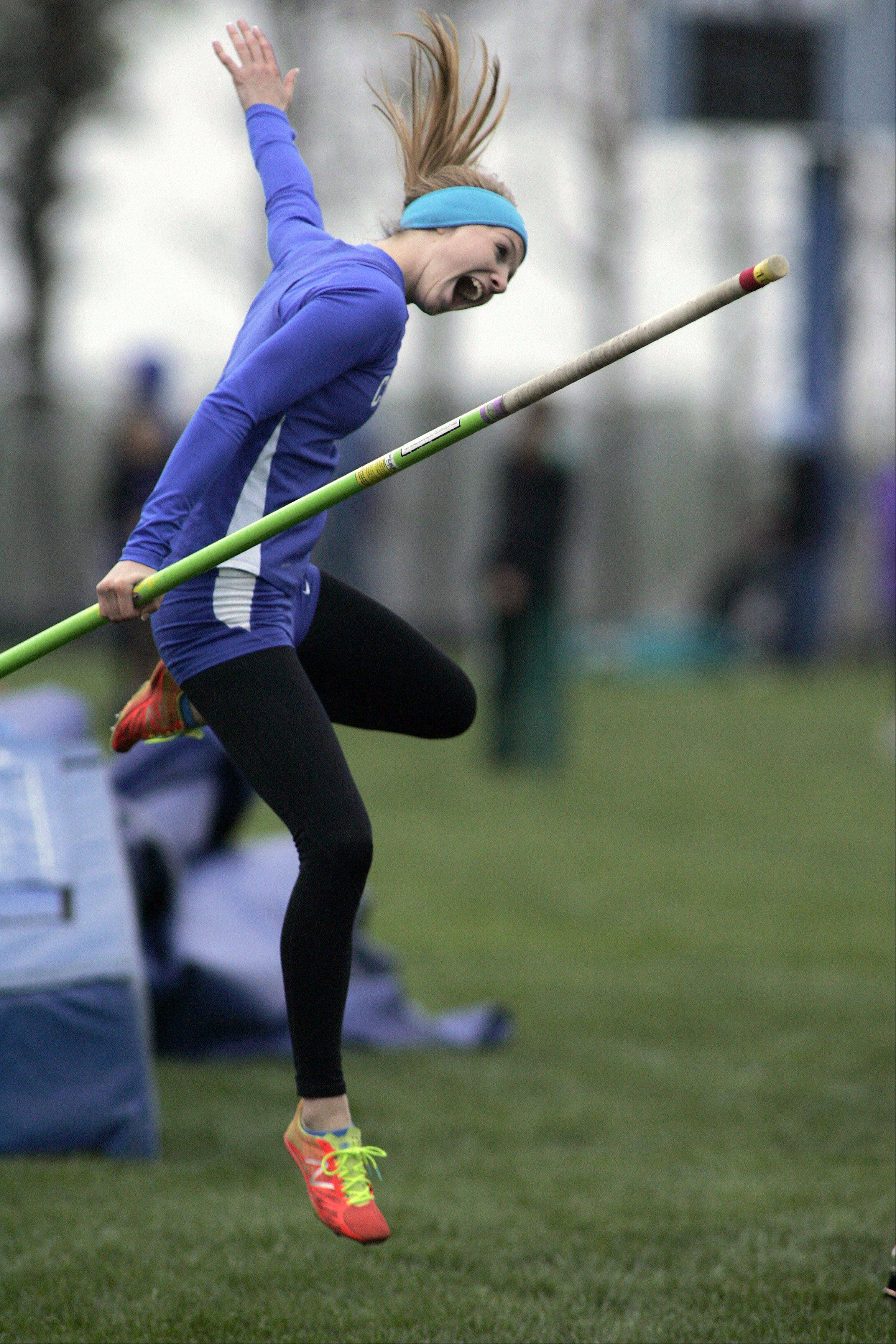 Burlington Central's Katie Trupp reacts as she wins the pole vault event during the Burlington Central girls track sectional Friday.