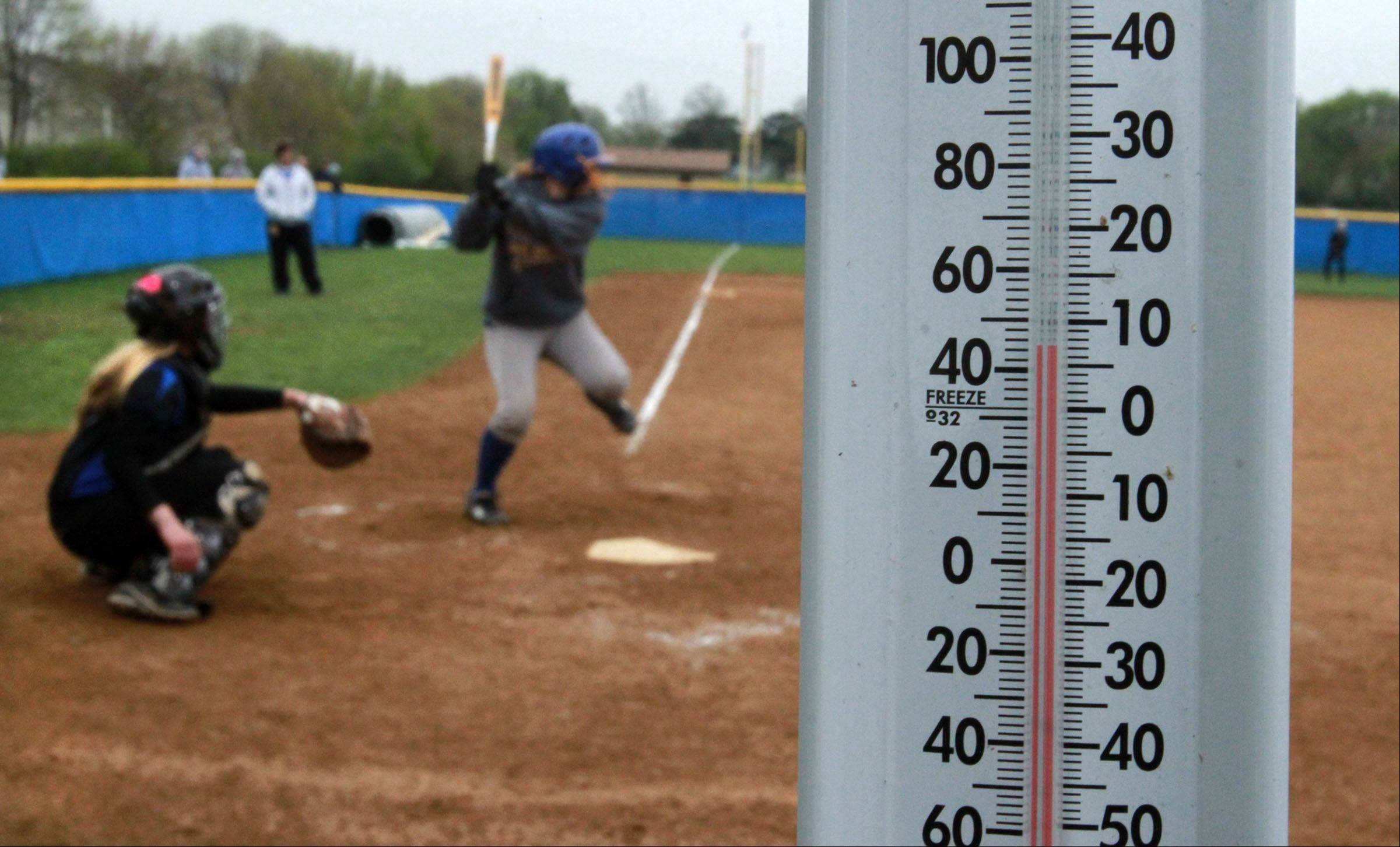 The temperature was chilly and windy for the Lake Zurich and Warren girls softball game in Gurnee on Friday.