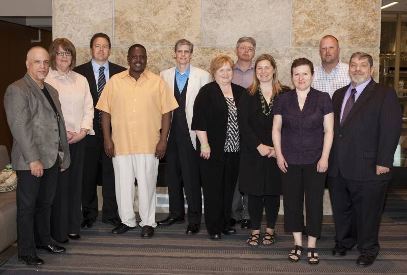 Caption: (Left to right) Michael Losacco, Jane Murtaugh, Chris Johnston, Theodore Darden, Ken Gray, Joyce Fletcher, Kent Richter, Jackie McGrath, Marina Kuchinski, Brian Clement and Gerald Krusinski (Photo by Press Photography Network/Special to College of DuPage)