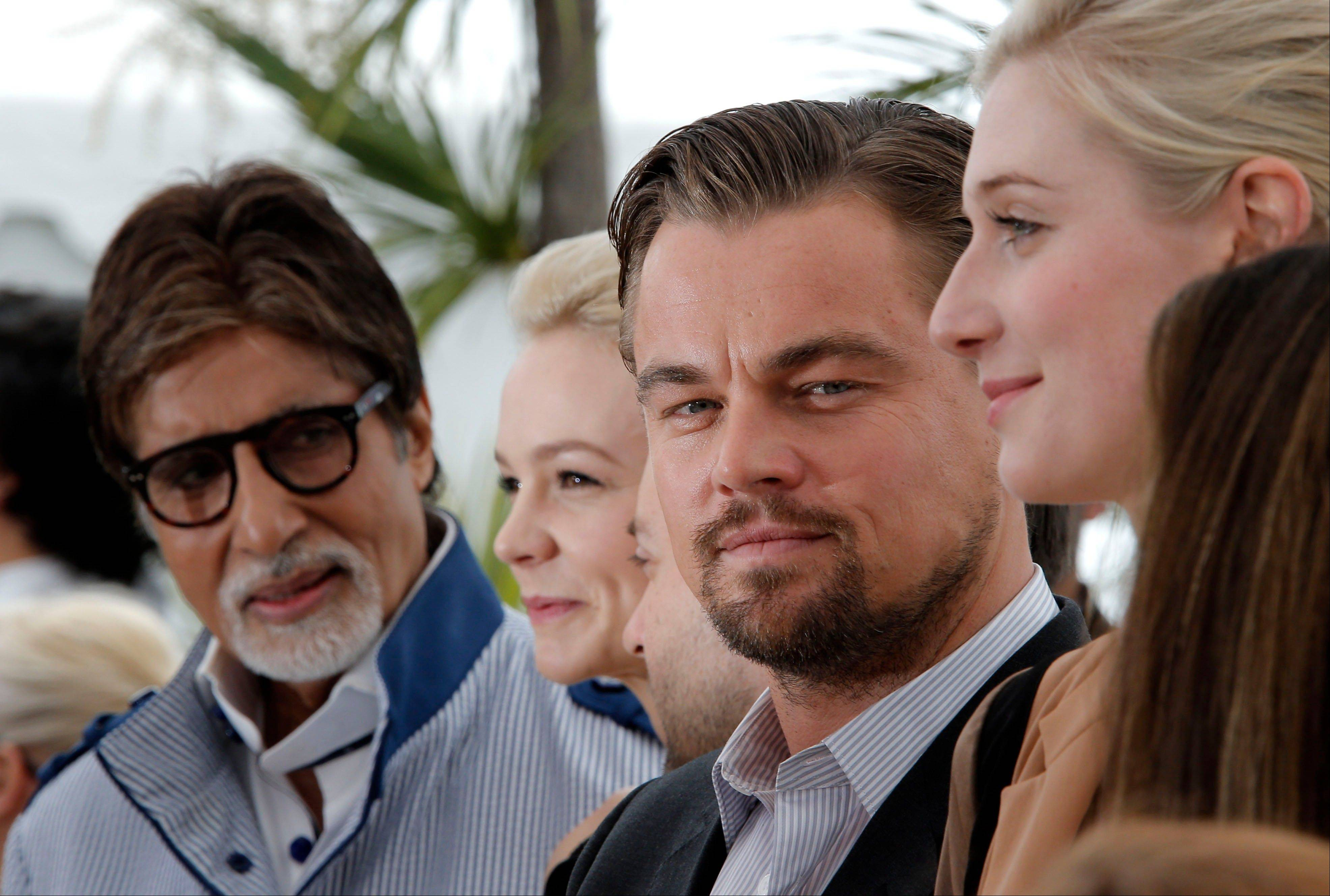 "Actors Amitabh Bachchan, left, Carey Mulligan, Leonardo DiCaprio and Elizabeth Debicki arrive for the showing of ""The Great Gatsby"" at the opening of the 66th international film festival in Cannes Wednesday."