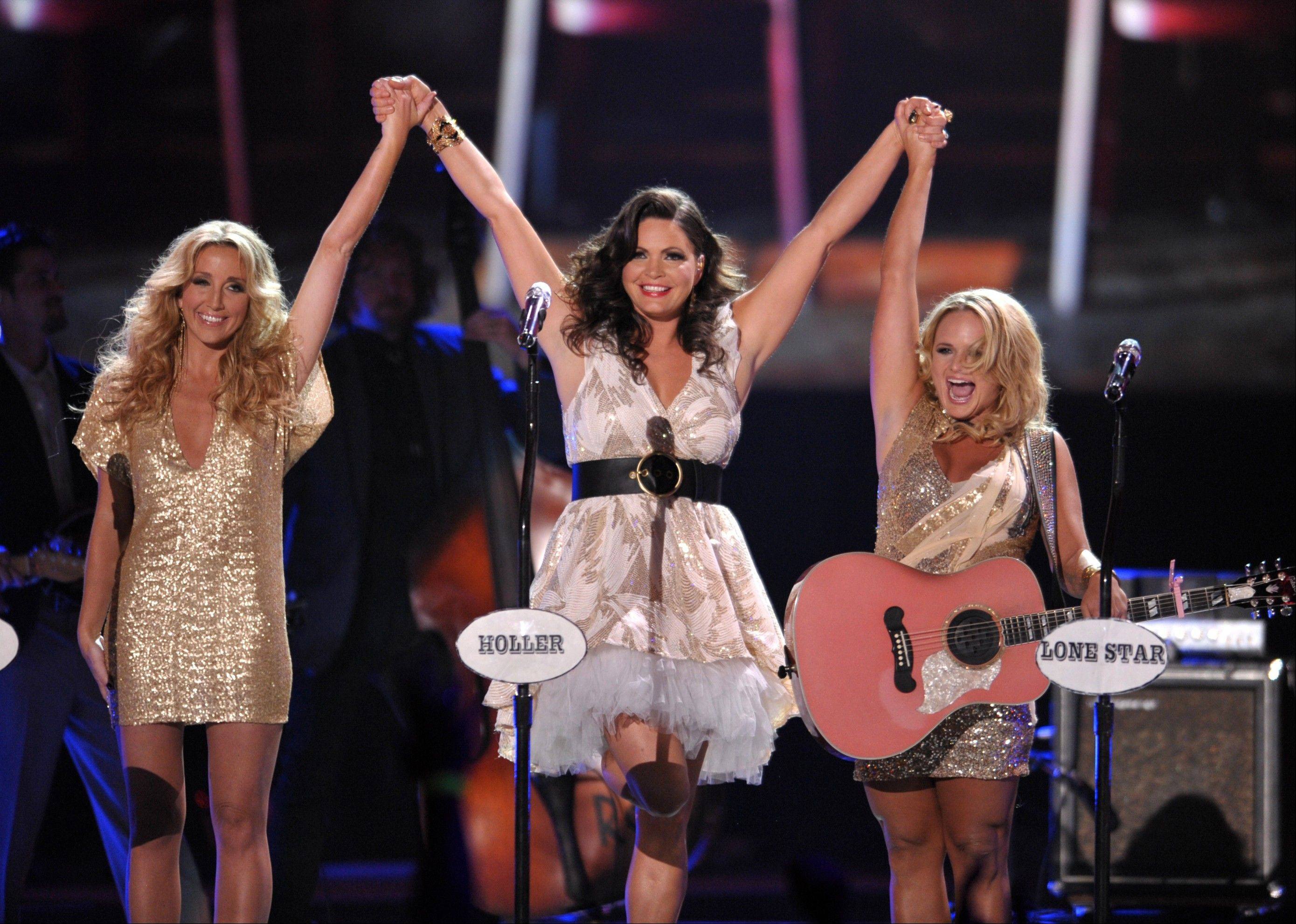 "Ashley Monroe, Angaleena Presley and Miranda Lambert of Pistol Annies at the 2012 CMT Music Awards in Nashville, Tenn. The female group released their new album, ""Annie Up,"" on Tuesday."