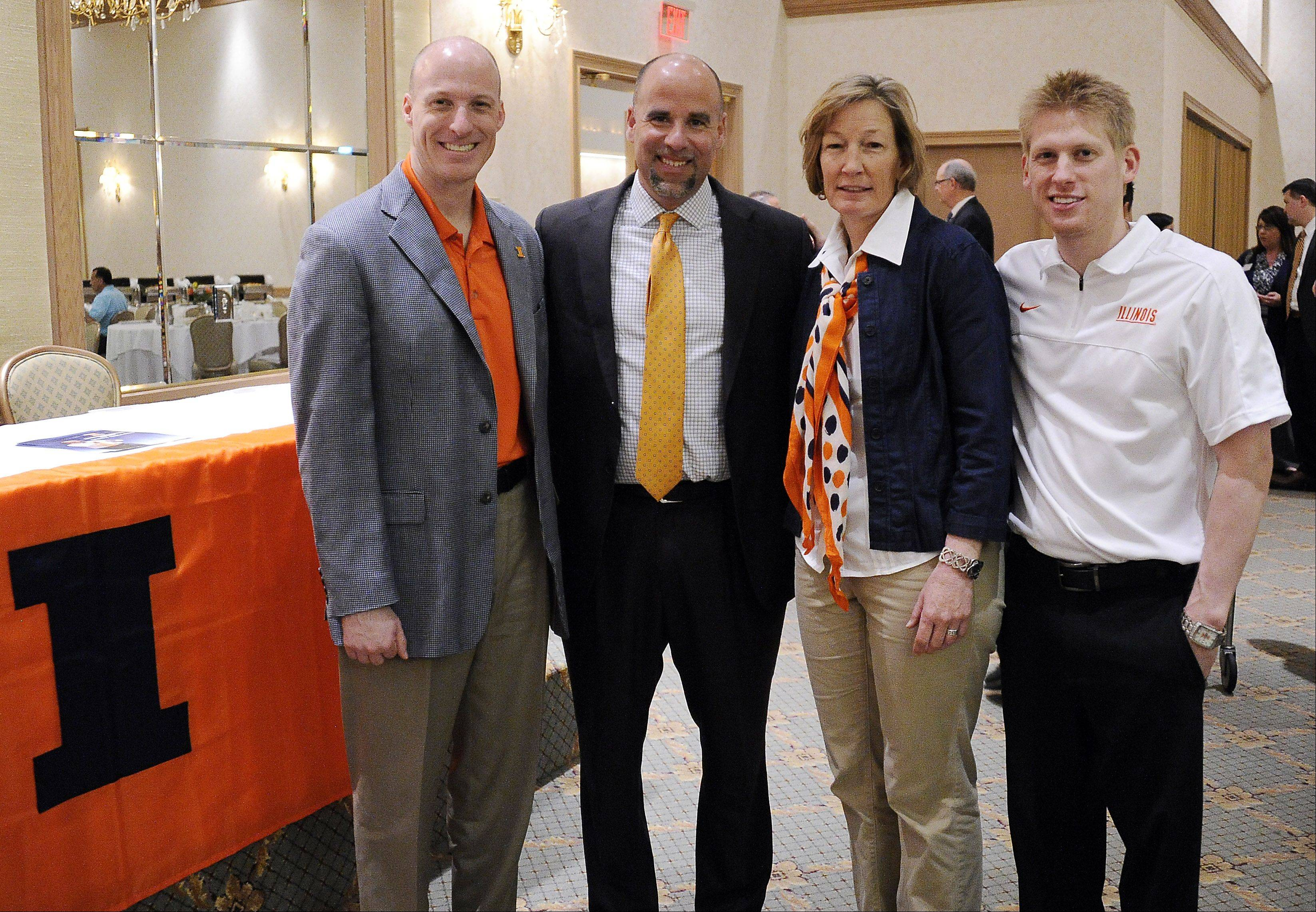 University of Illinois coaches John Groce (men's basketball), Matt Bollant (women's basketball), Janet Rayfield (women's soccer), and Justin Spring (men's gymnastics) stopped to meet with Daily Herald premium subscribers Wednesday as part of the annual Illini Caravan.